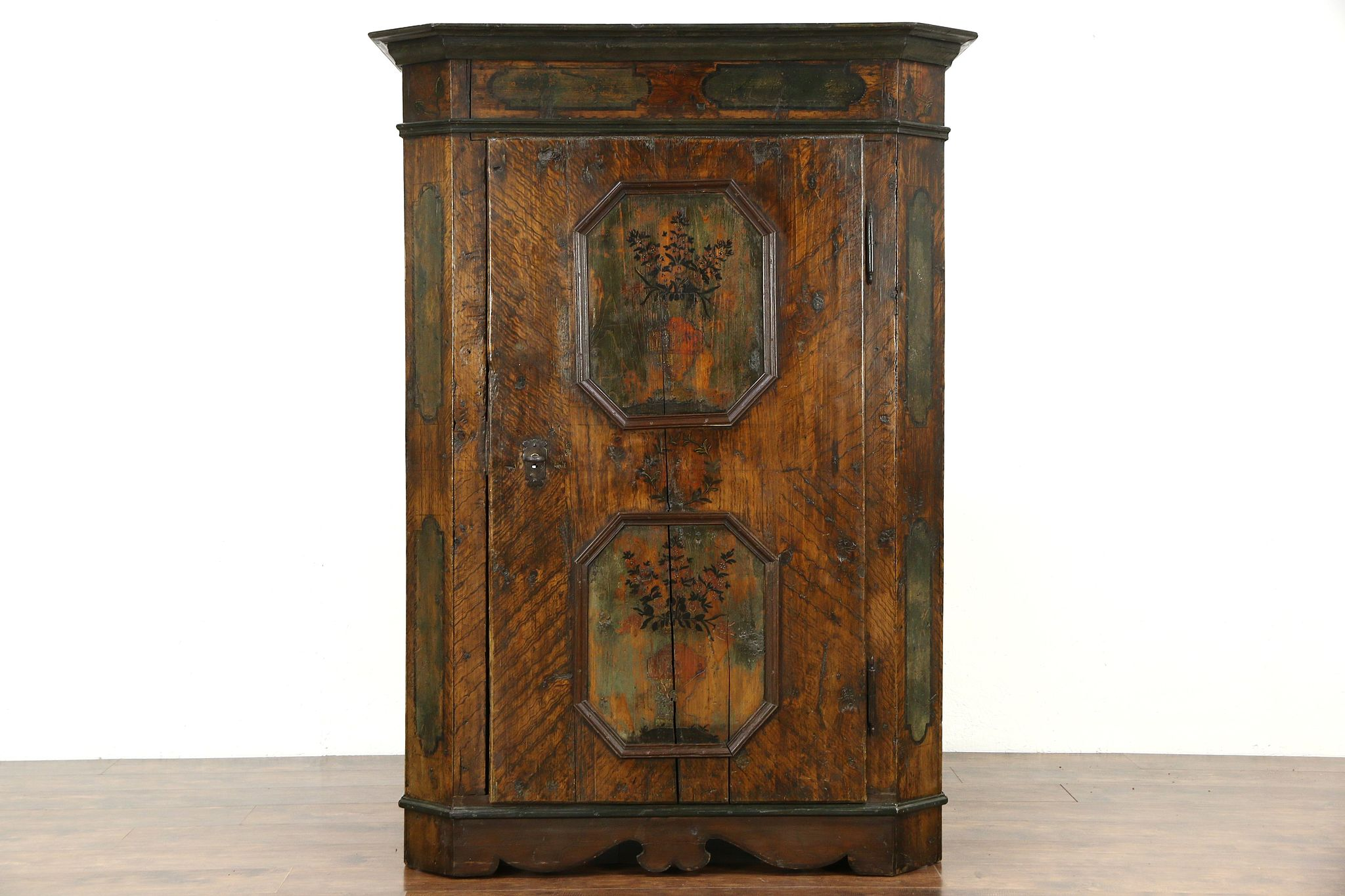 Schrank German Hand Painted 1700s Antique Folk Art Dowry Armoire Or Cabinet