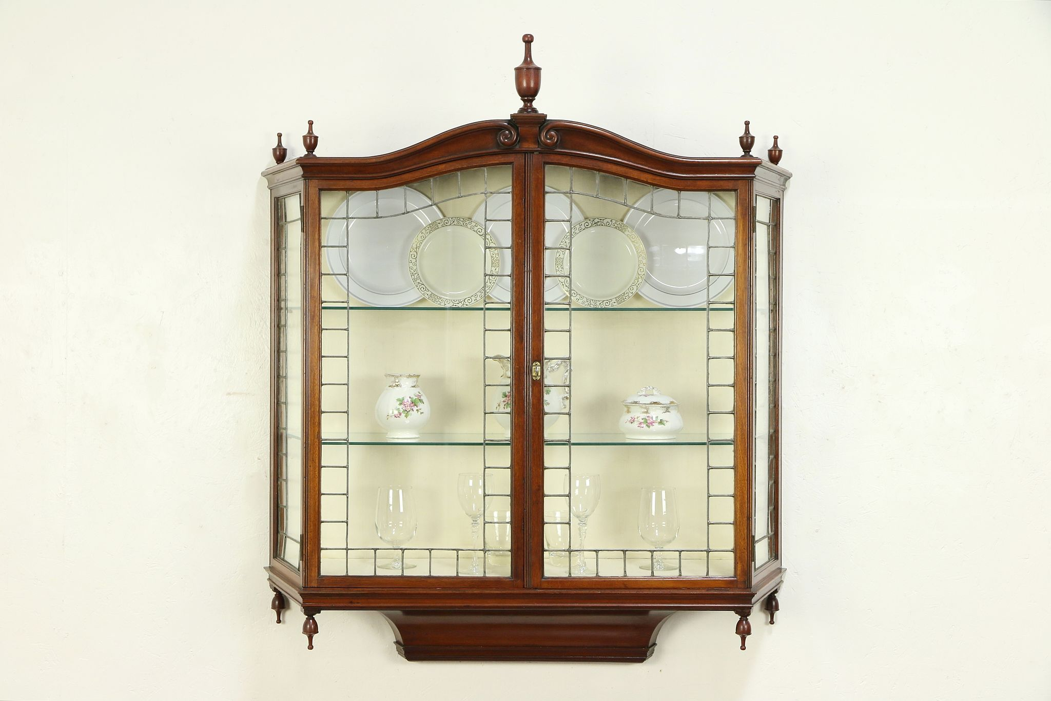 Sold English Antique Wall Hanging Vitrine Or Curio Cabinet Leaded Glass Doors 29565 Harp Gallery Antiques Furniture