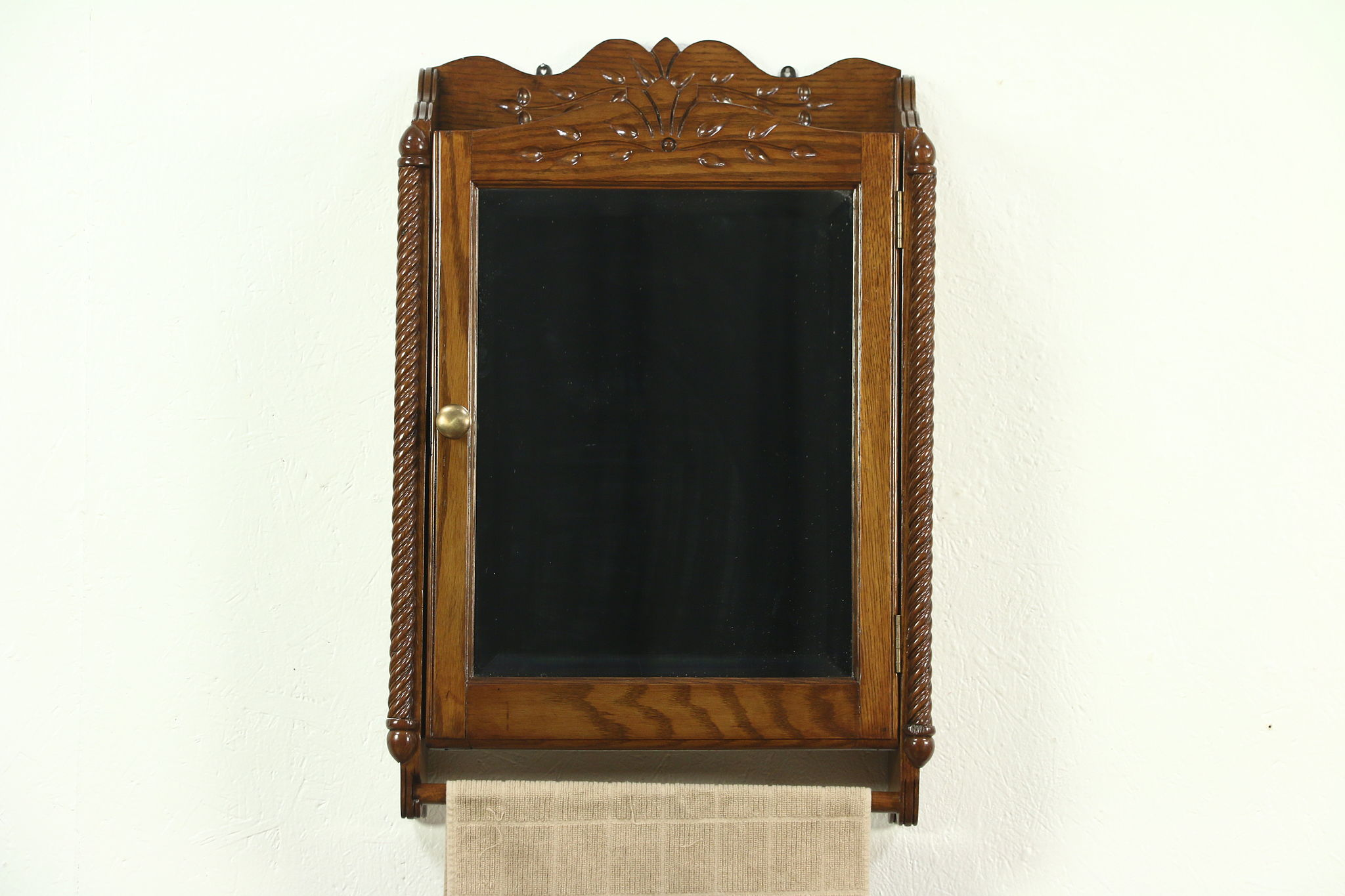 Victorian Eastlake Antique Oak Medicine Cabinet Chest, Beveled Mirror,  Towel Bar