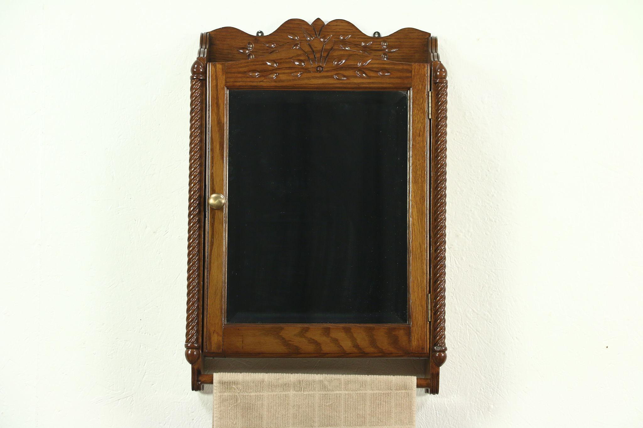 Victorian Eastlake Antique Oak Medicine Cabinet