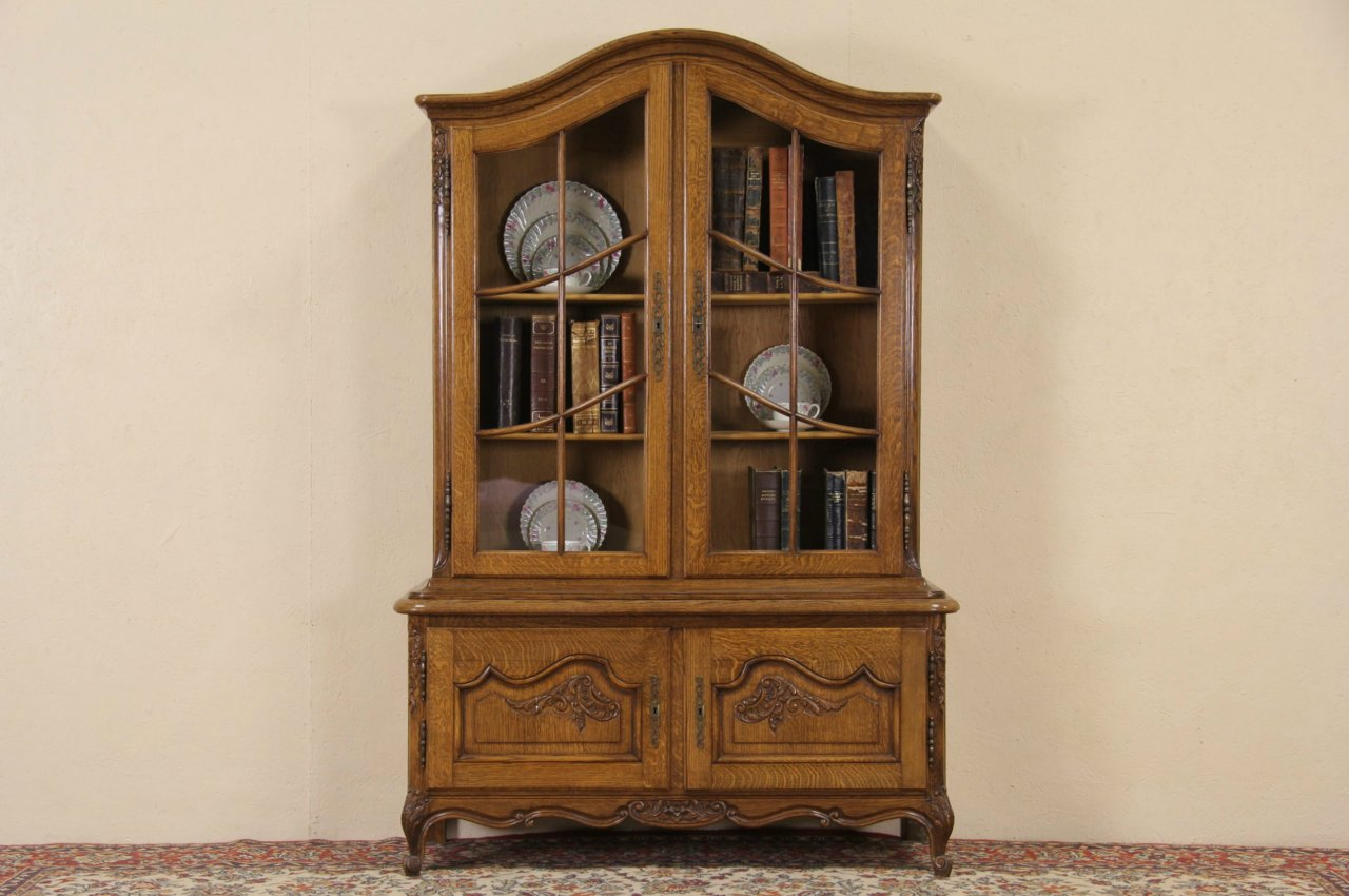 Sold Country French Oak 1920 Antique Bookcase Or China