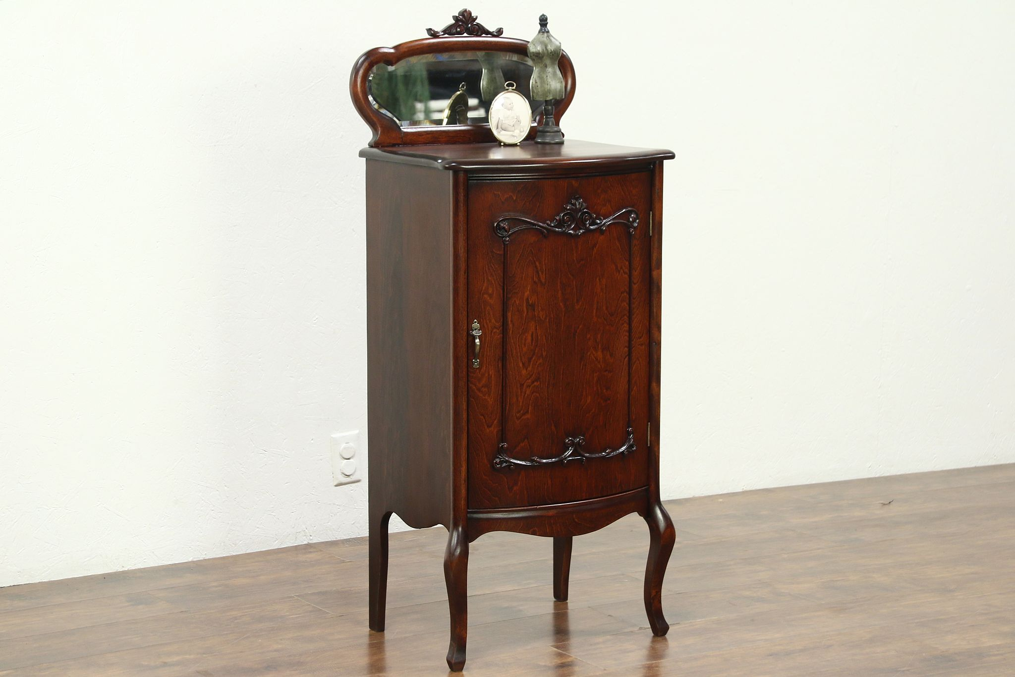 Beau Music Cabinet Or Collector File, 1900 Antique, Beveled Mirror ...