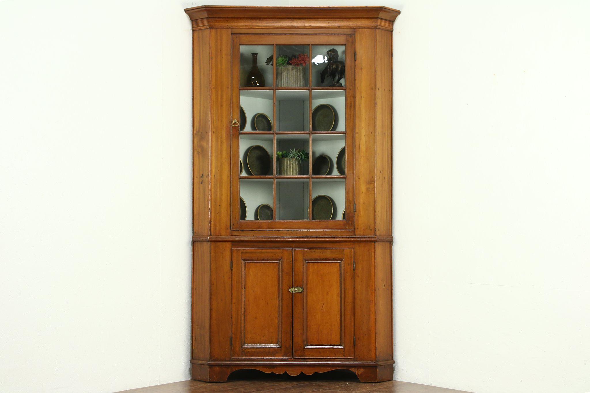 Sold Corner Cupboard 1840 Antique Poplar Cabinet Wavy Glass