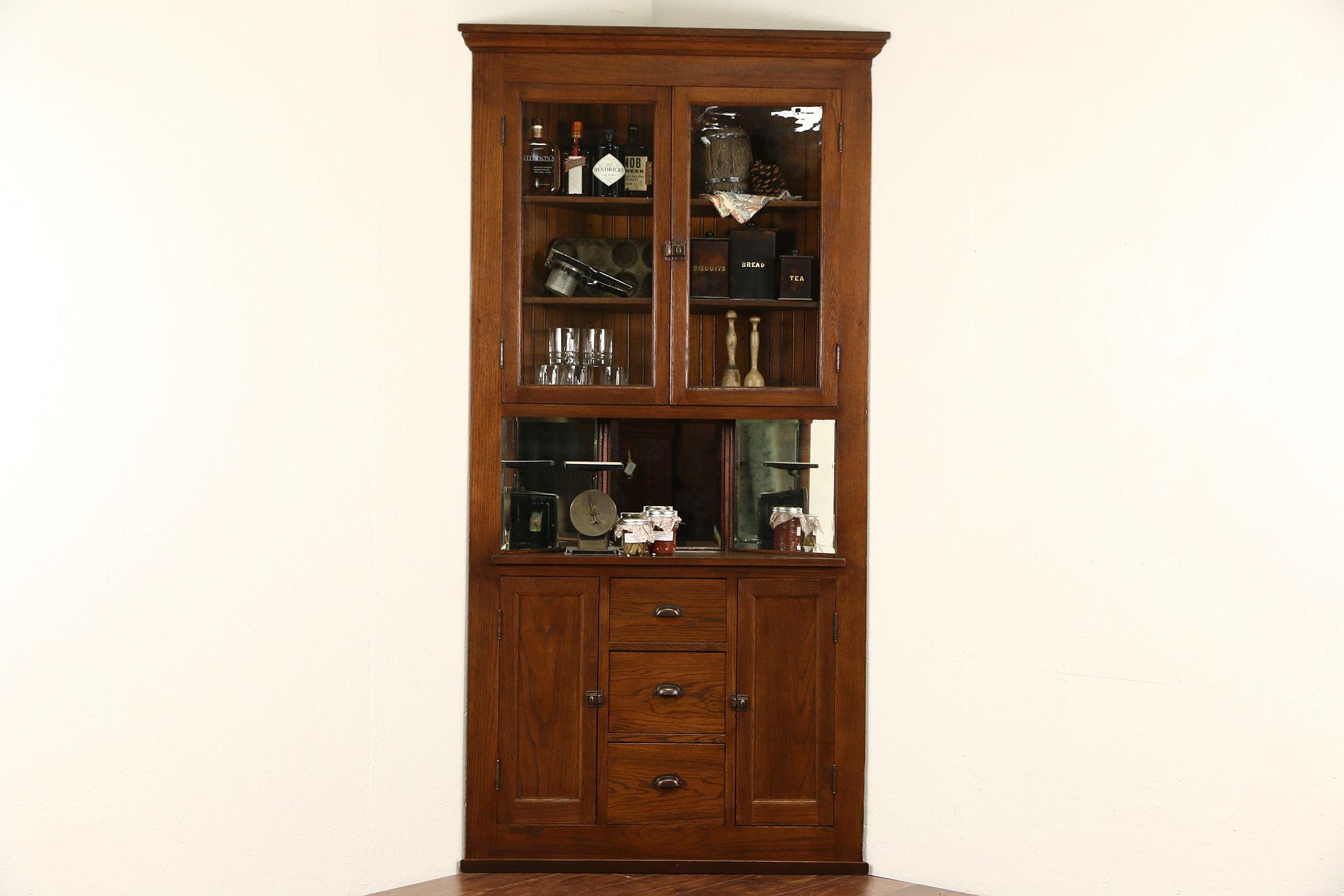 Oak Corner Cupboard, 1900 Antique Cabinet, Glass Doors U0026 Mirrors