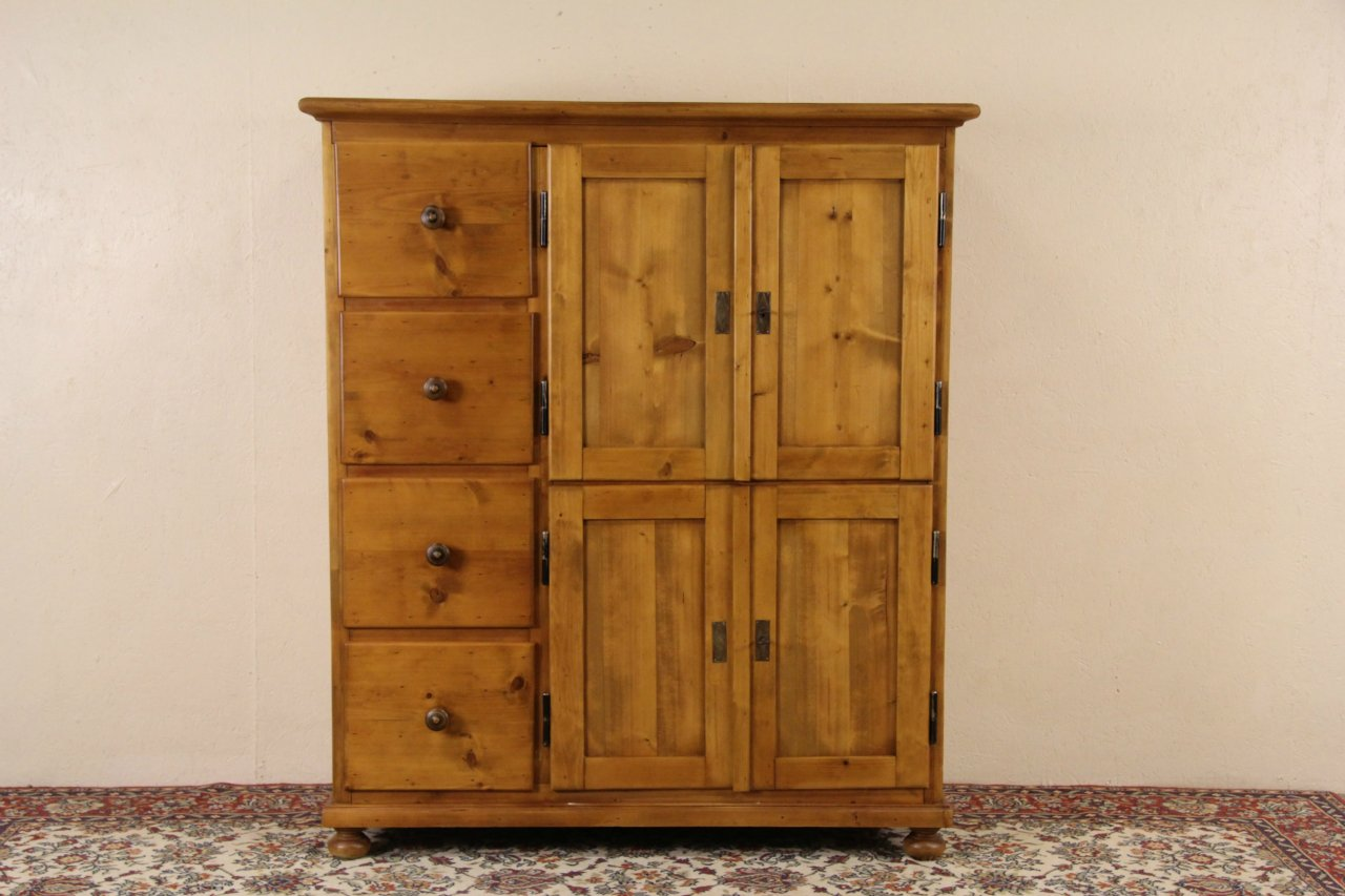 Bohemian Czech 1900 Antique Country Pine Pantry Cabinet Or Cupboard