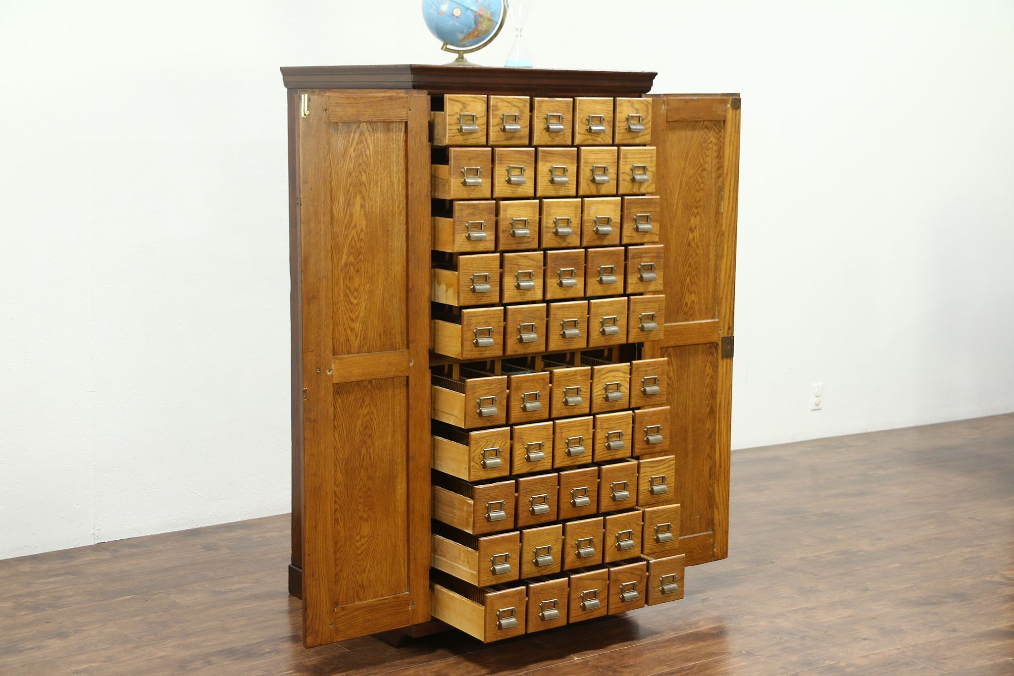 Oak Antique 50 Drawer Lab Or Jewelry Cabinet Collector File