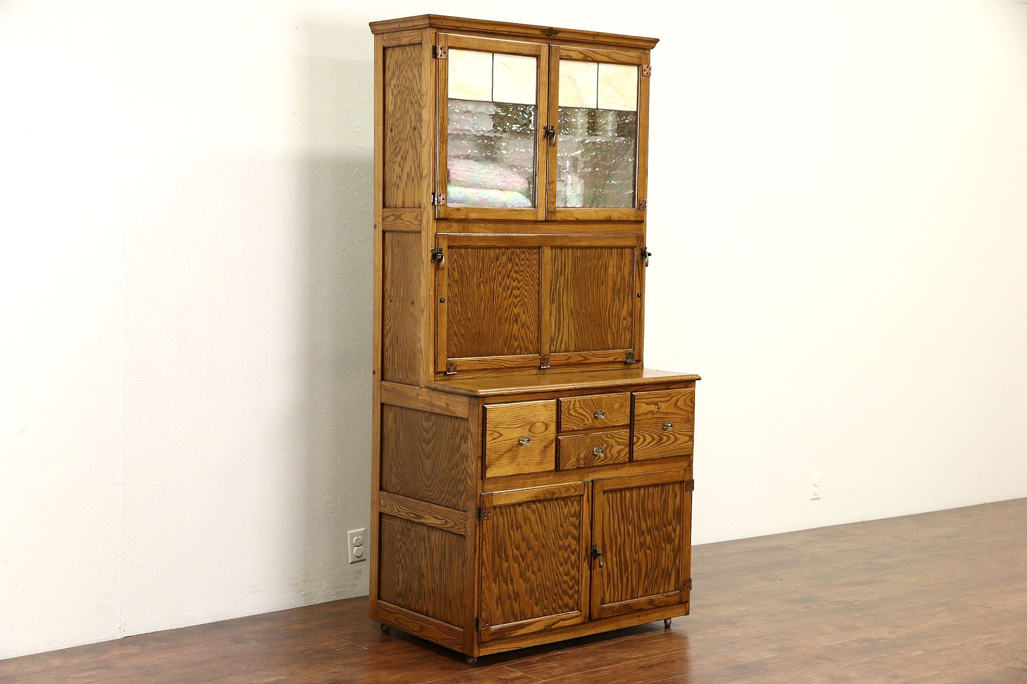 SOLD - Hygena English 1930's Oak Vintage Hoosier Kitchen Cupboard or Physician Cabinet - Harp Gallery