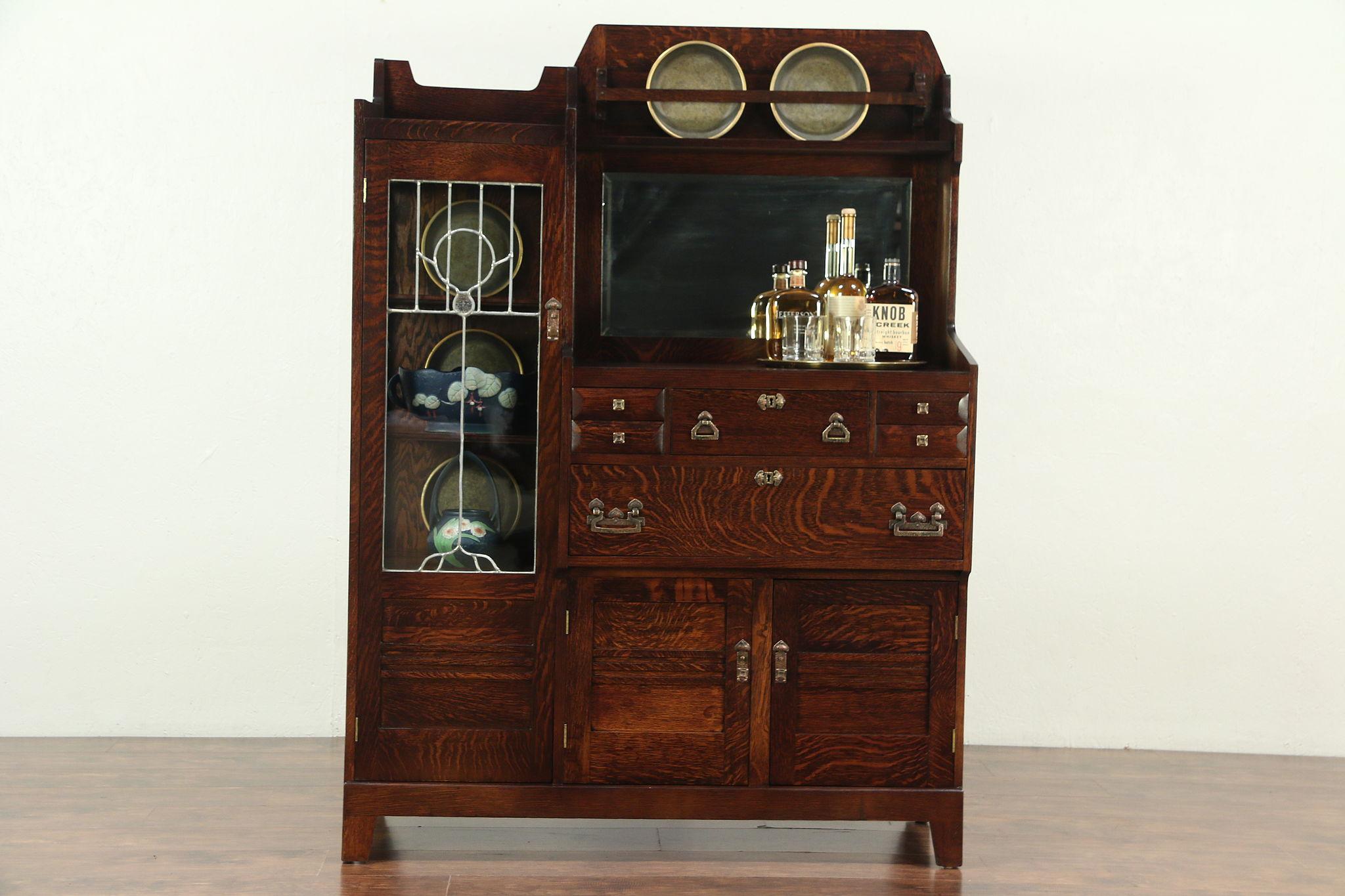 Craftsman Antique Mission Oak Arts Crafts China Bar Cabinet Sideboard 28978 Photo
