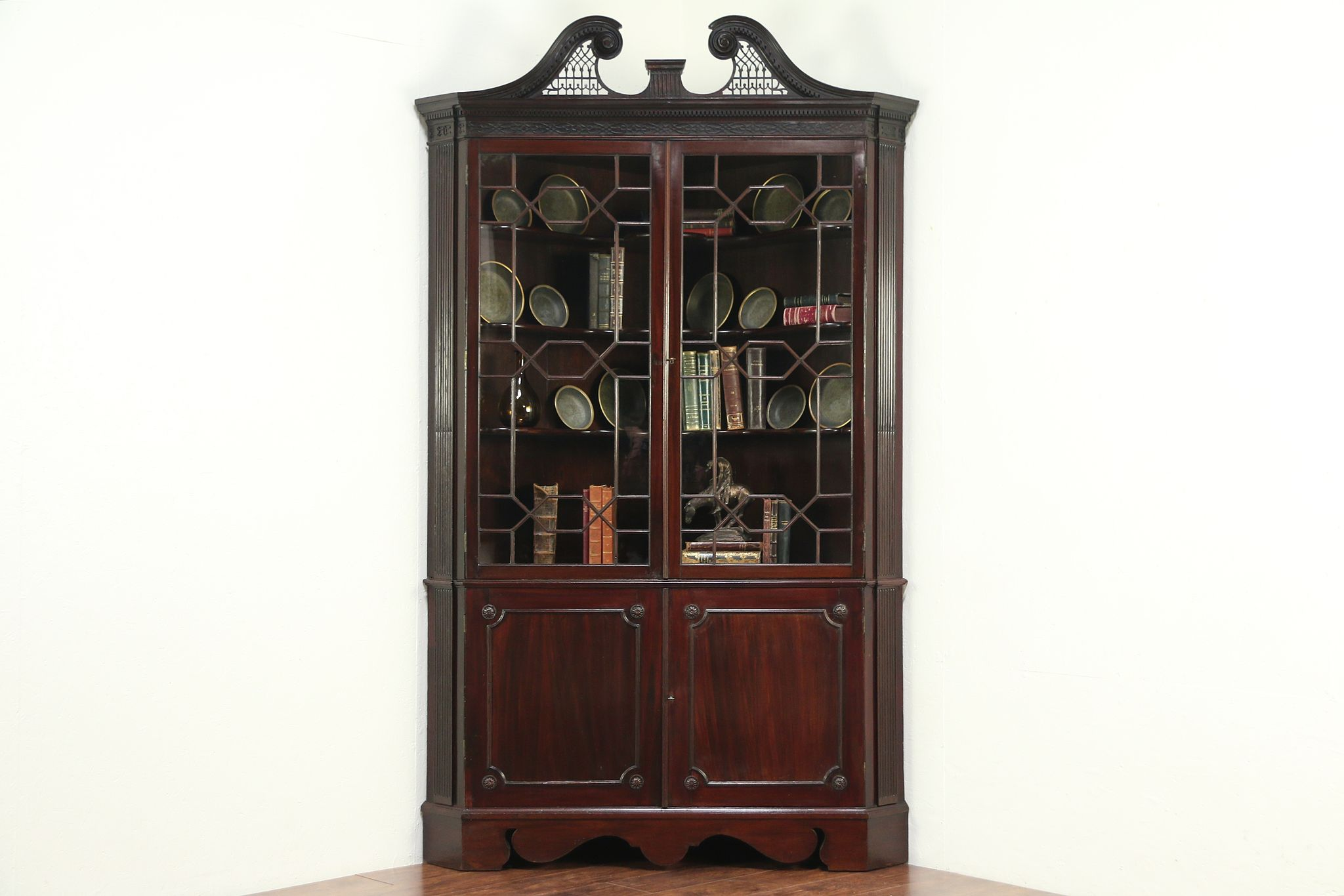 Georgian 1820 Antique Mahogany Corner China Cabinet Or Cupboard, England  #28928 ...