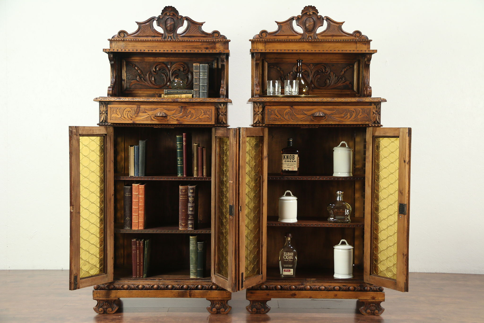 Pair Of Hand Carved Pine Antique Cabinets, Stained Glass