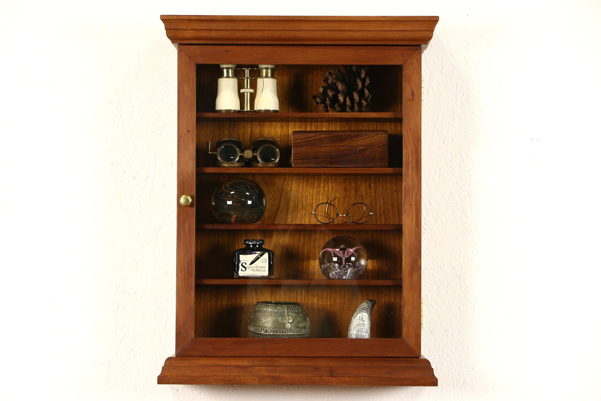 Cherry Vintage Collector Display Cabinet, Signed Bartley Collection