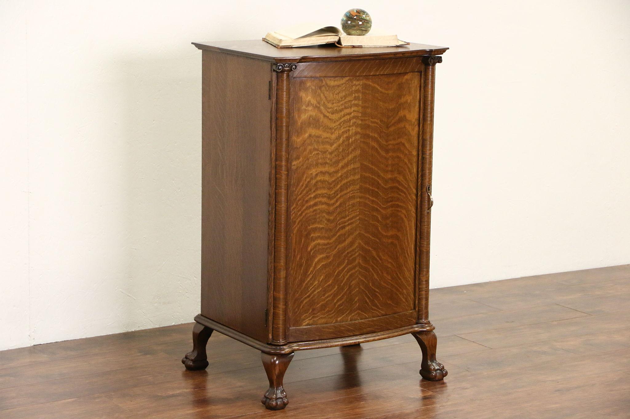 Sold Oak 1910 Antique Sheet Music File Cabinet Carved