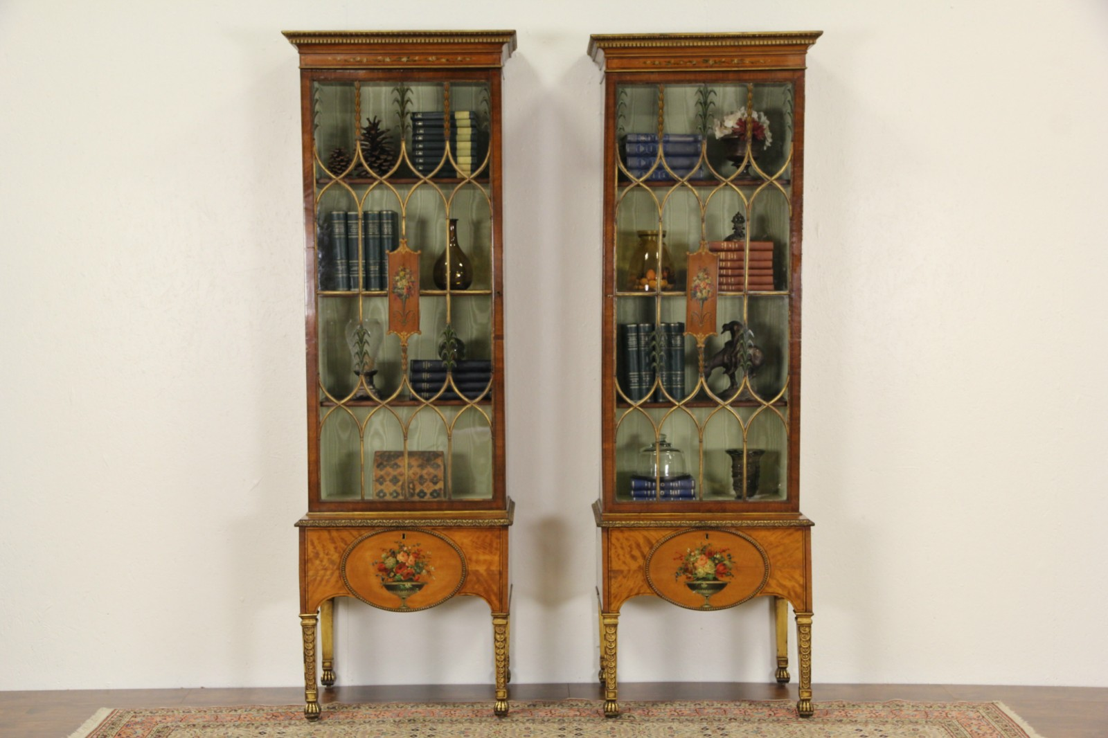Pair Hand Painted Satinwood English 1890 Antique Curio Cabinets