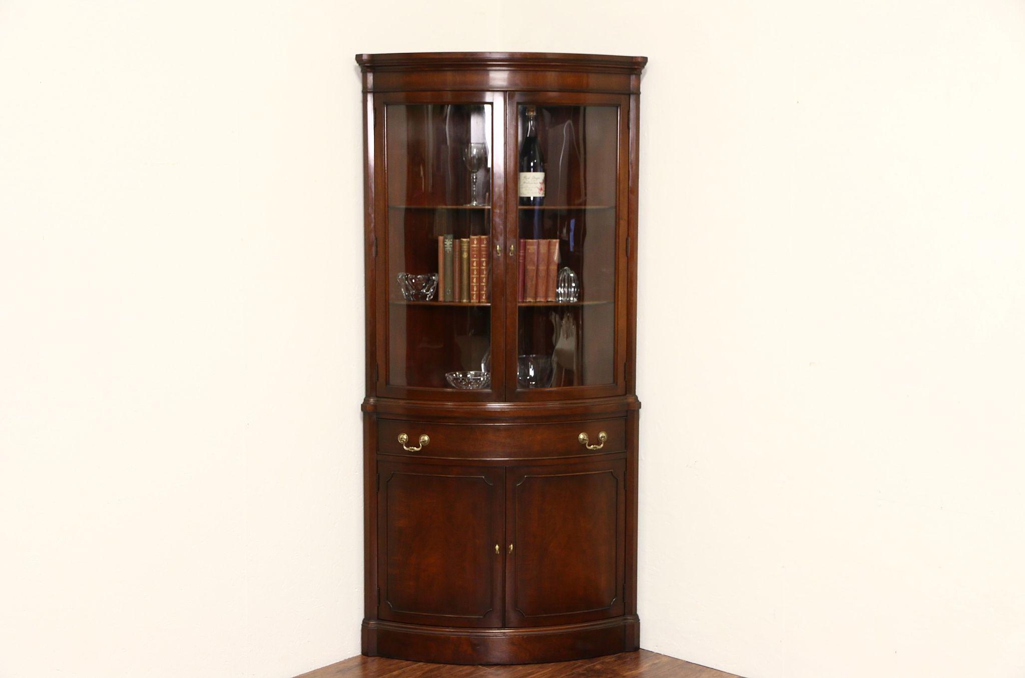 Sold Georgian Vintage Mahogany Curved Glass Corner Cabinet Signed Landstrom Harp Gallery