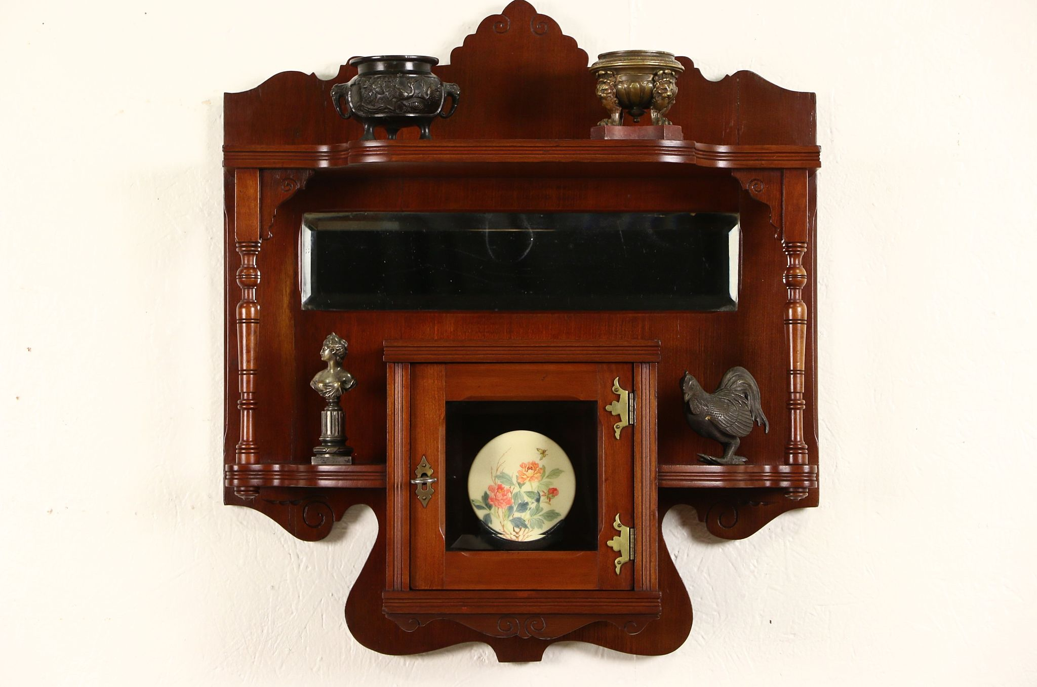 Victorian Eastlake 1880 Antique Cherry Wall Shelf U0026 Cabinet, Beveled Mirror