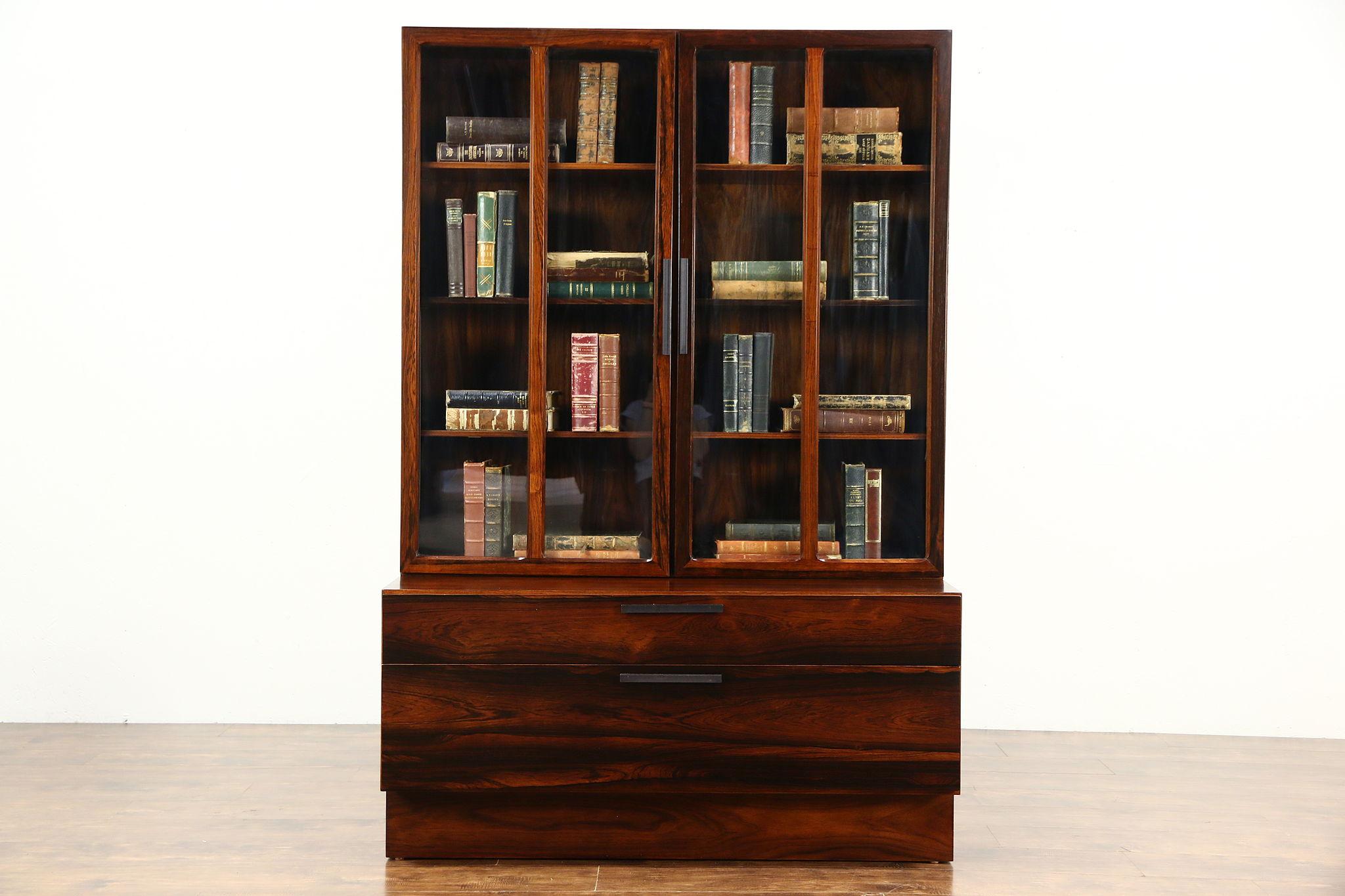 Midcentury Modern Rosewood Vintage Danish Bookcase Or China Glass Doors Larsen