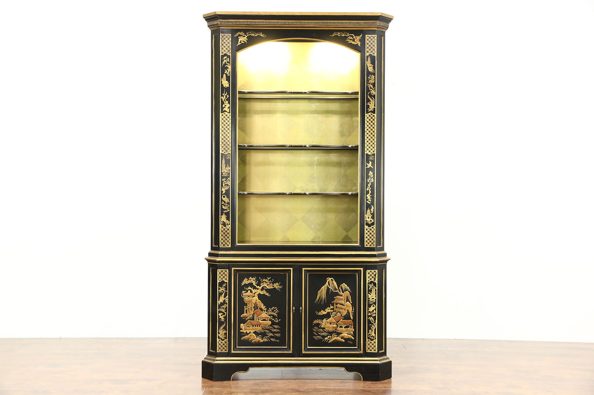 Black Lacquer Chinoiserie Vintage Curio Or China Display Cabinet Signed  Heritage ...
