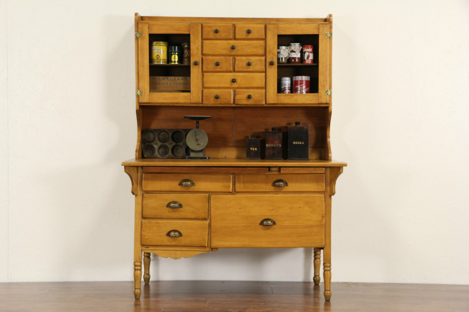 SOLD - Country Pine & Maple Baker Cabinet, 1890's Antique ...