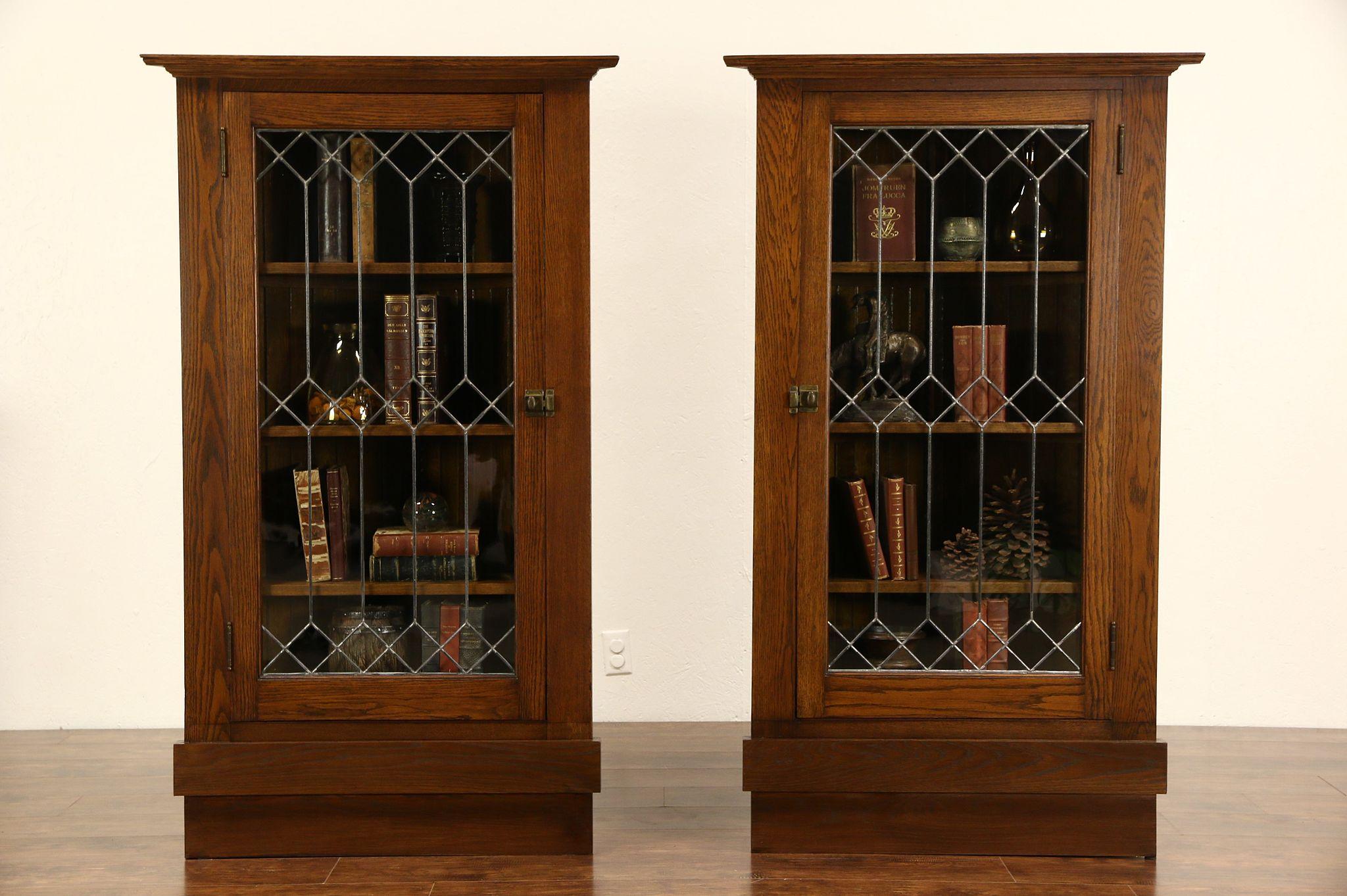 Pair Arts U0026 Crafts Mission Oak 1905 Antique Corner Cabinets, Leaded Glass  Doors
