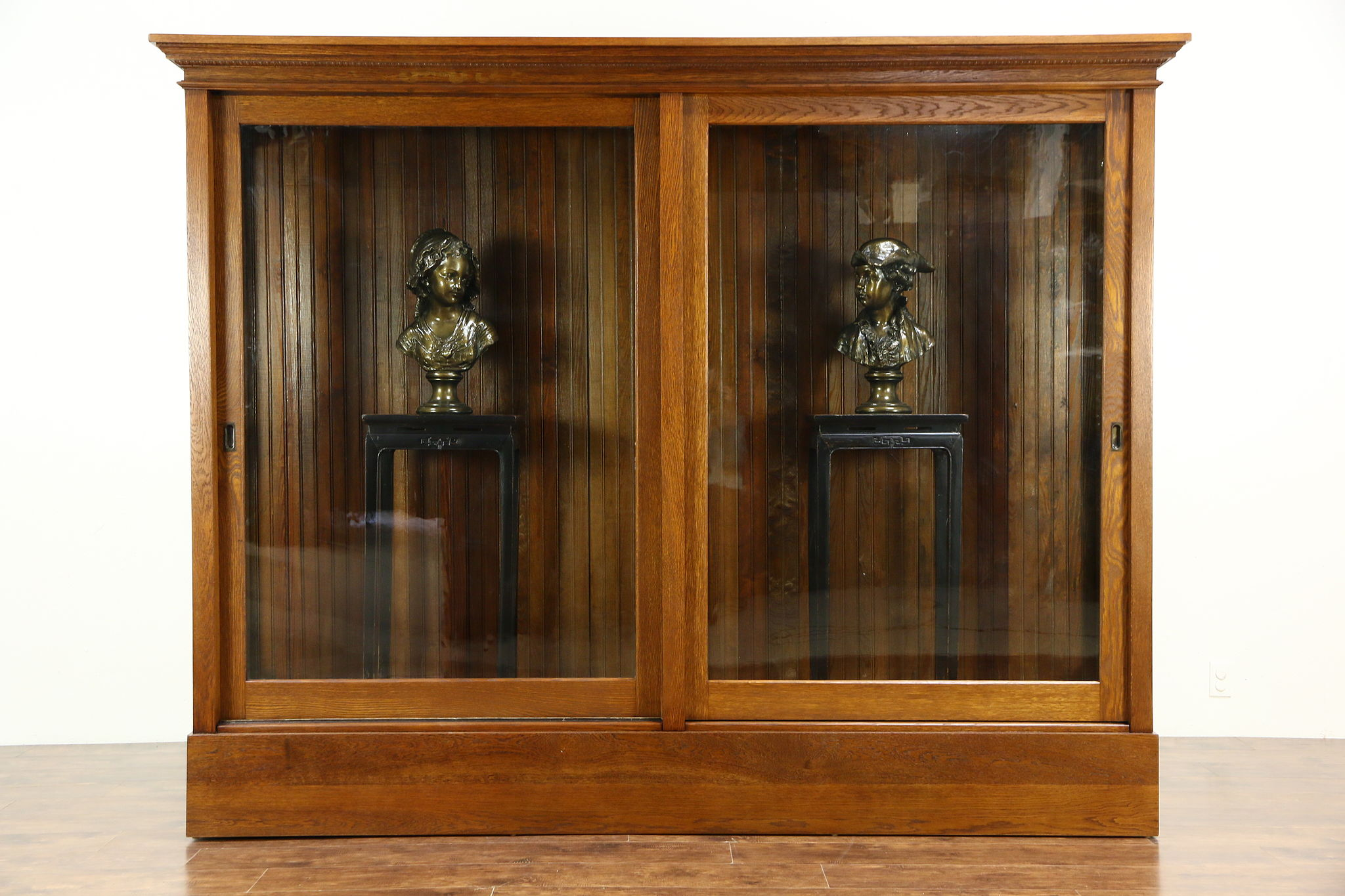 Oak 1900 Antique Display Cabinet Pantry Cupboard Sliding Glass Doors
