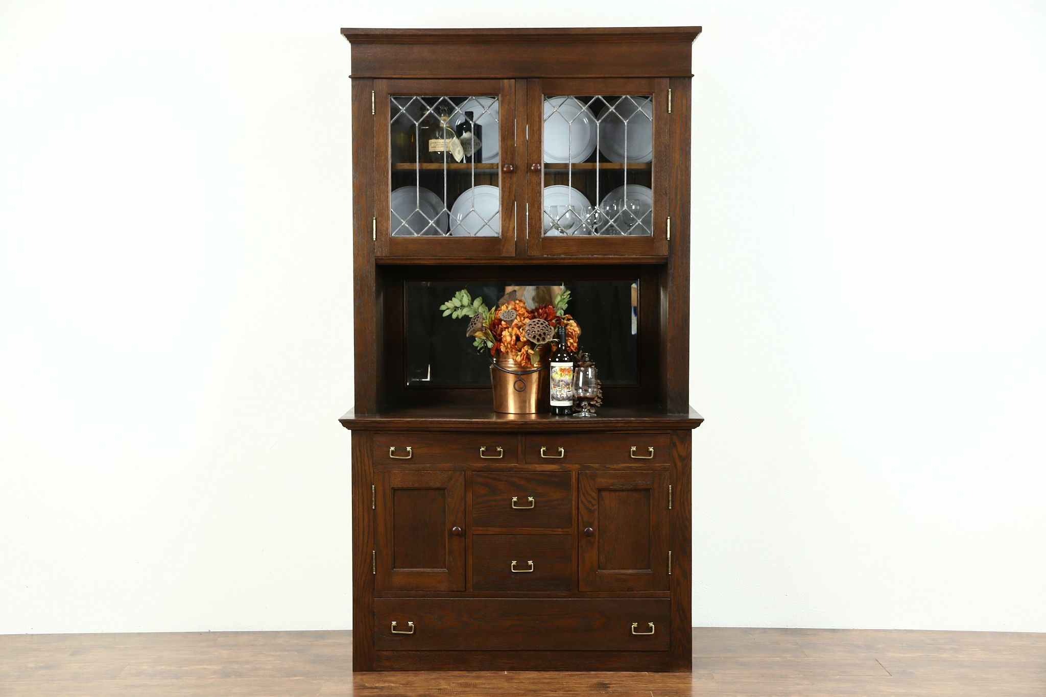 Delicieux Oak 1900 Antique Pantry Cabinet, Sideboard U0026 China, Leaded Glass Doors