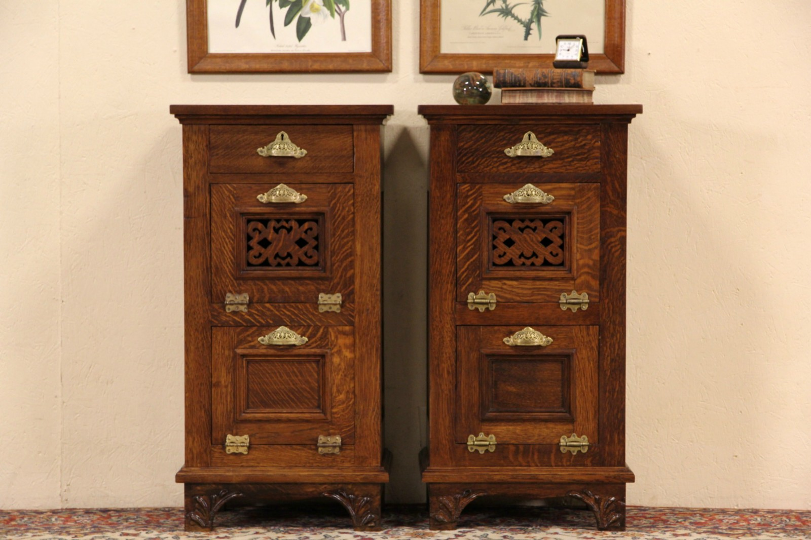 Pair Of 1895 Antique Oak Barber Shop Cabinets, End Tables Or Night Stands