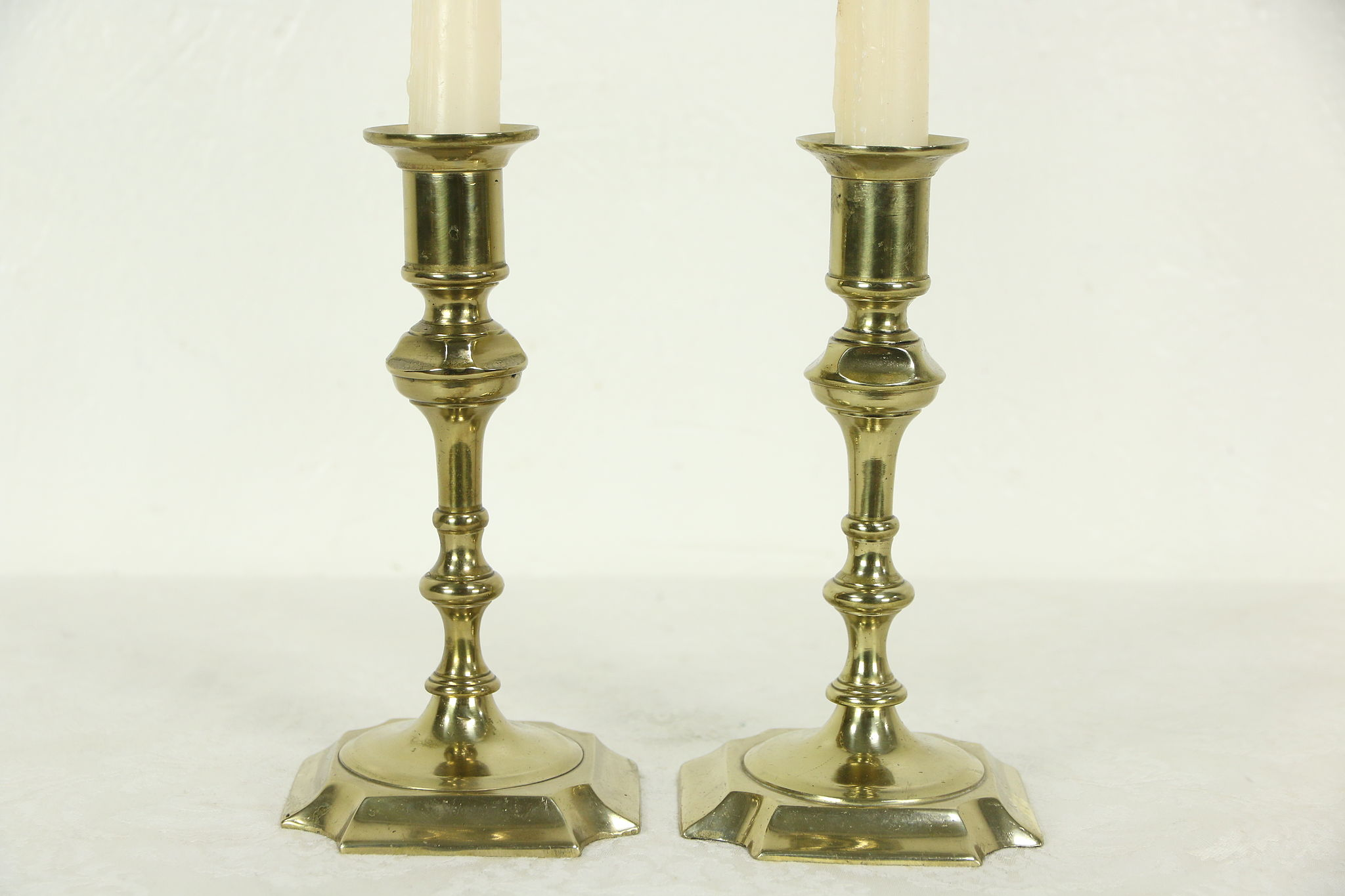 Pair Antique Solid Br Candlesticks