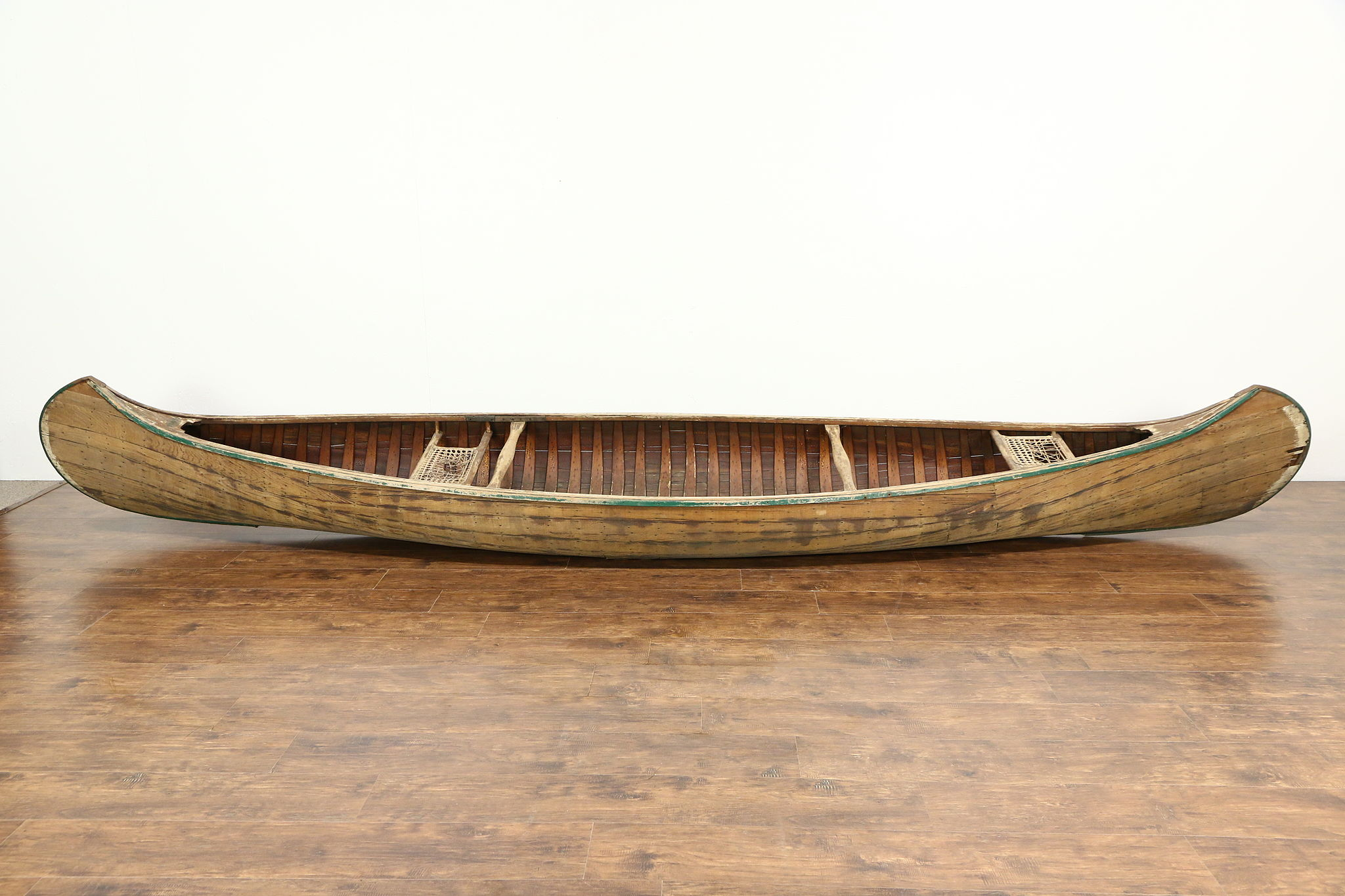 Sold Old Town Maine Signed Antique 16 Wood Canoe For