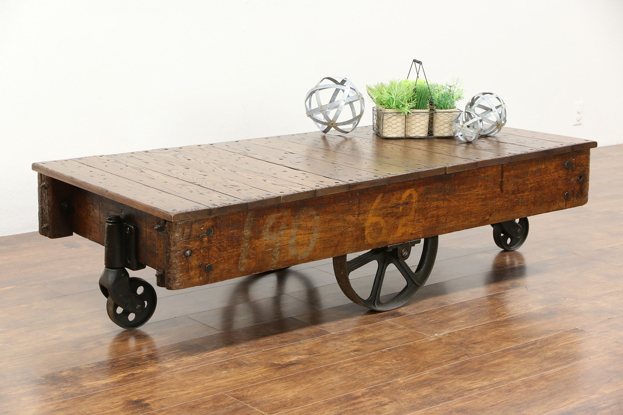 Industrial 1900u0027s Antique Railroad Oak And Iron Cart Or Coffee Table