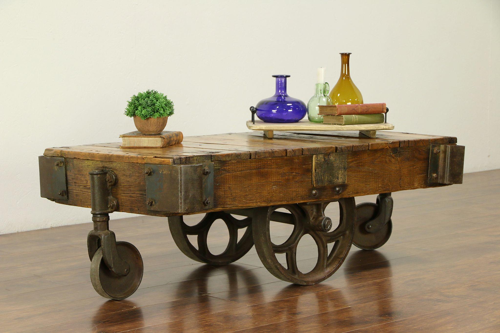 Terrific Industrial Antique Factory Salvage Railroad Cart Or Coffee Table 30535 Interior Design Ideas Tzicisoteloinfo