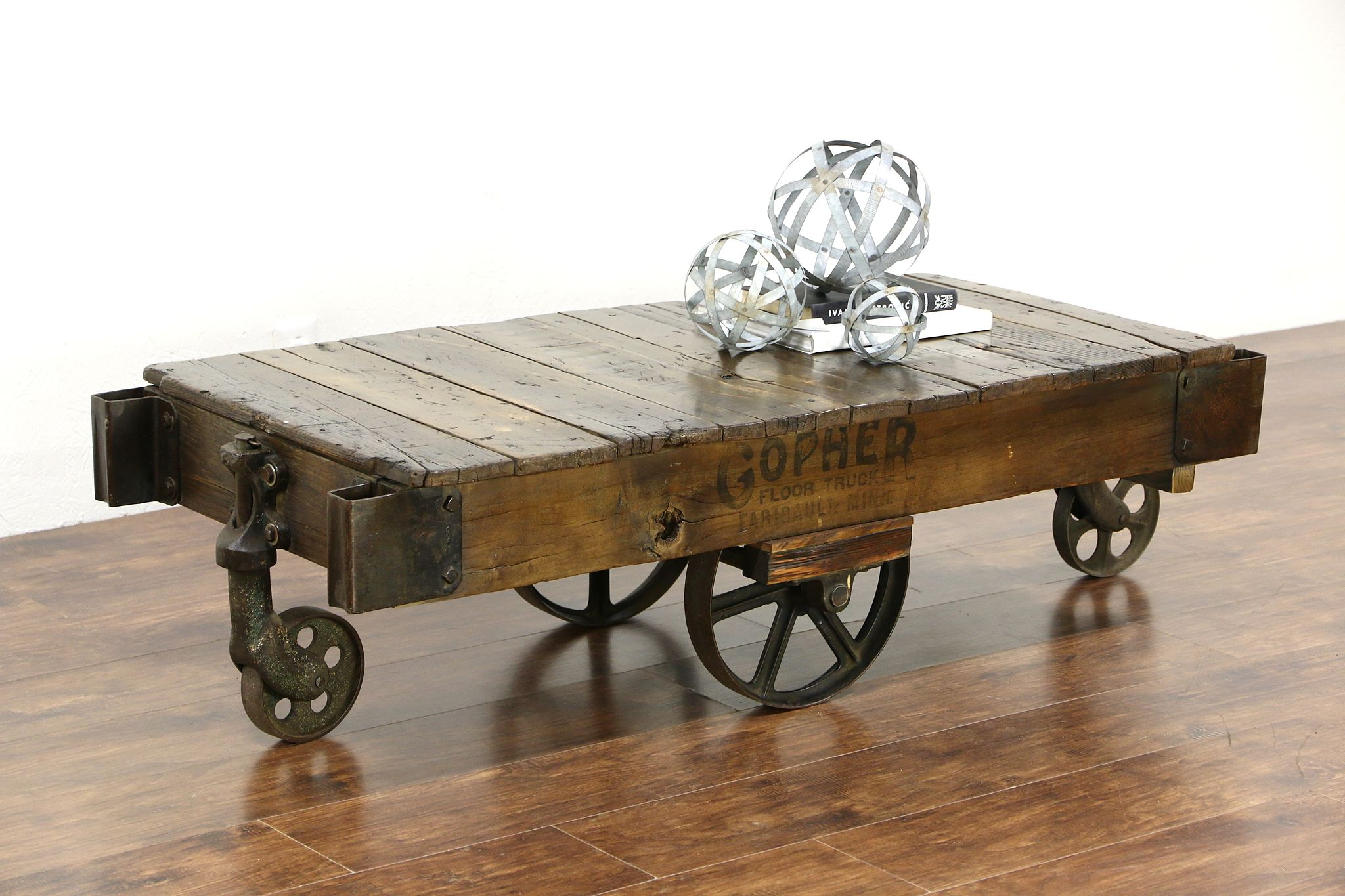 sold industrial 1900 s antique railroad cart or coffee table