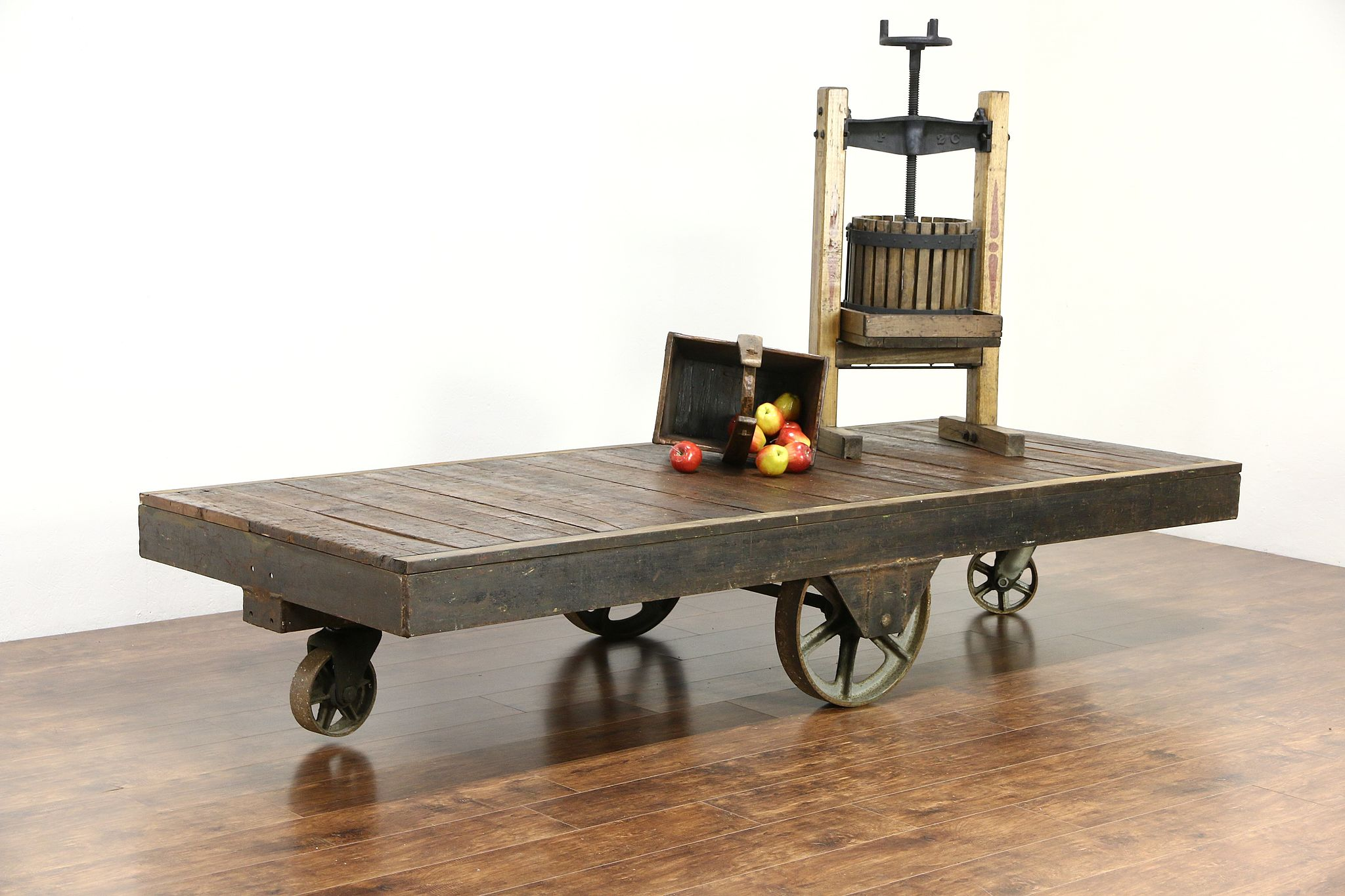 Industrial Salvage 9 Factory or Garden Landscaping Cart Maple