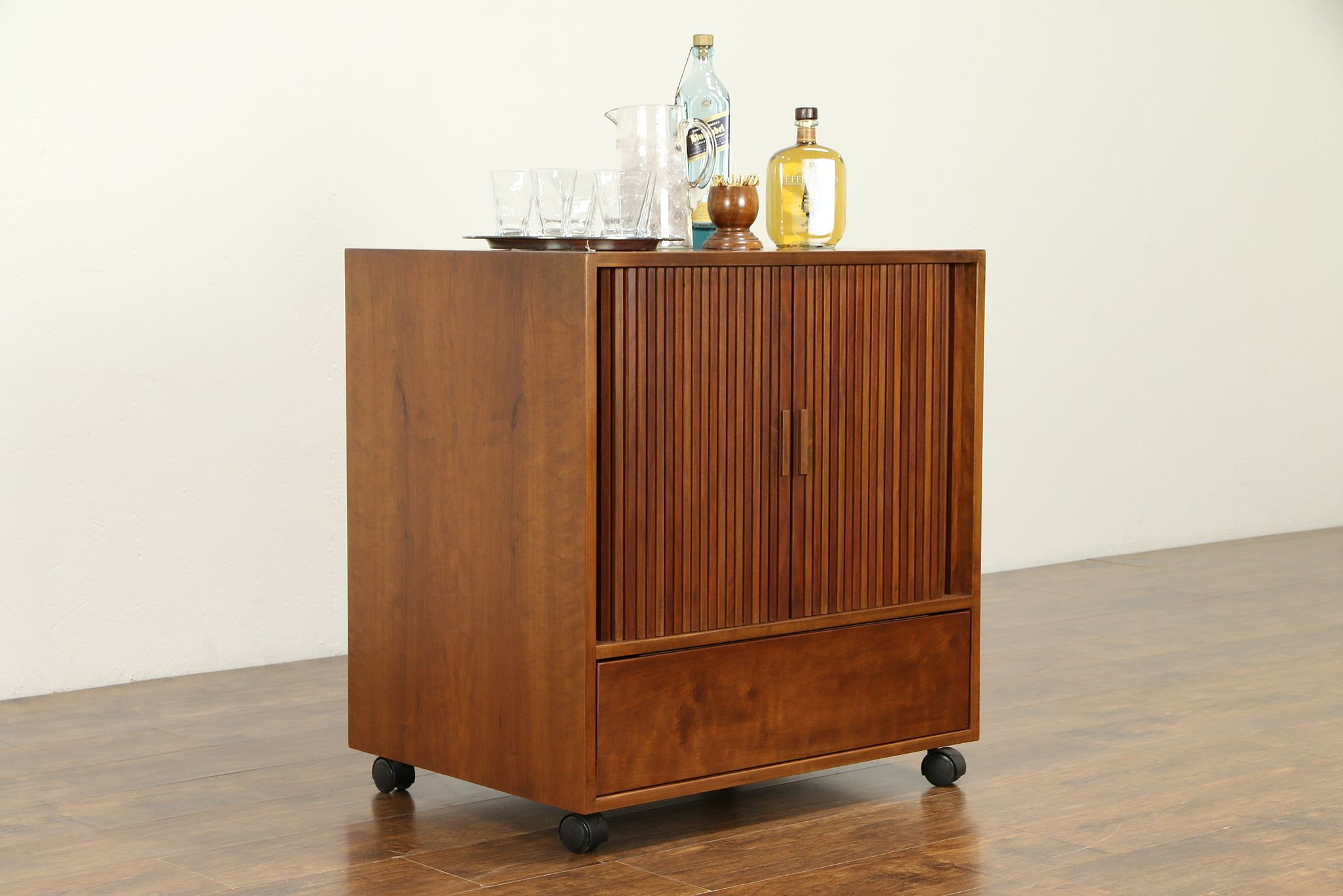 Sold Midcentury Modern Vintage Cherry Entertainment Bar Cabinet