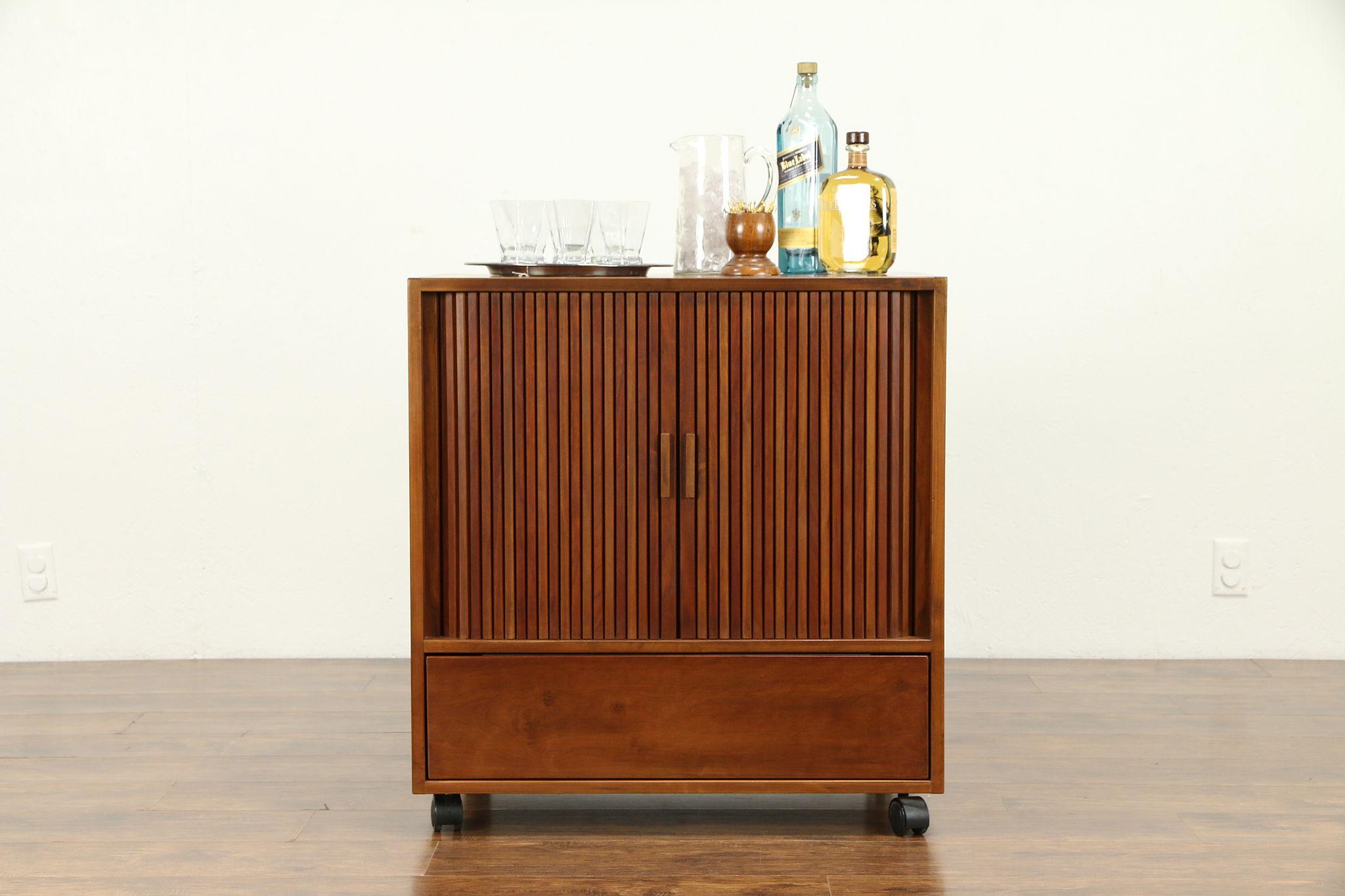 Sold Midcentury Modern Vintage Cherry Entertainment Bar Cabinet