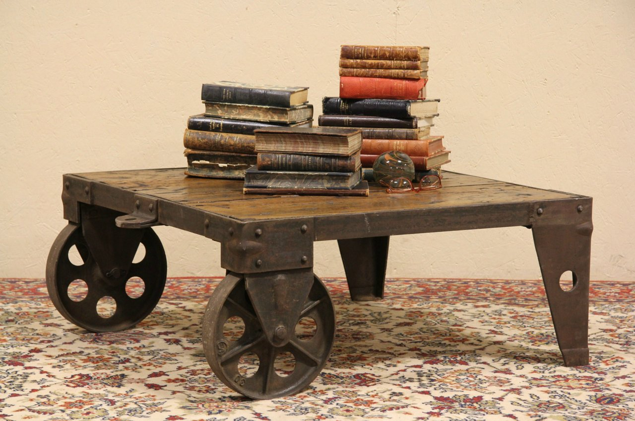 Sold Antique Industrial 2 Wheel Cart Or Coffee Table Harp Gallery Antique Furniture