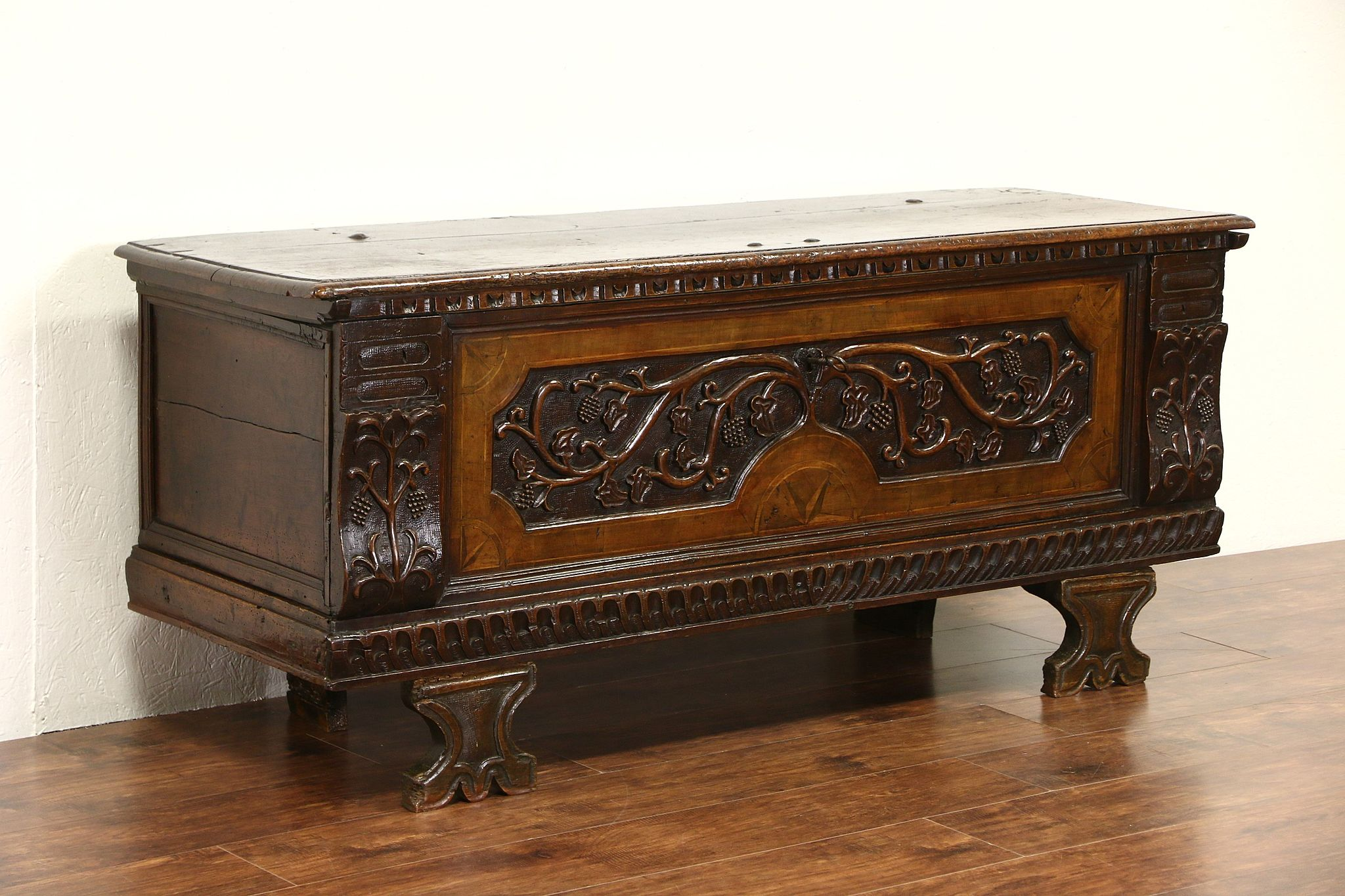 Italian 1700 Antique Cassone Dowry Chest Wedding Trunk, Grape Motif, TV  Console ...