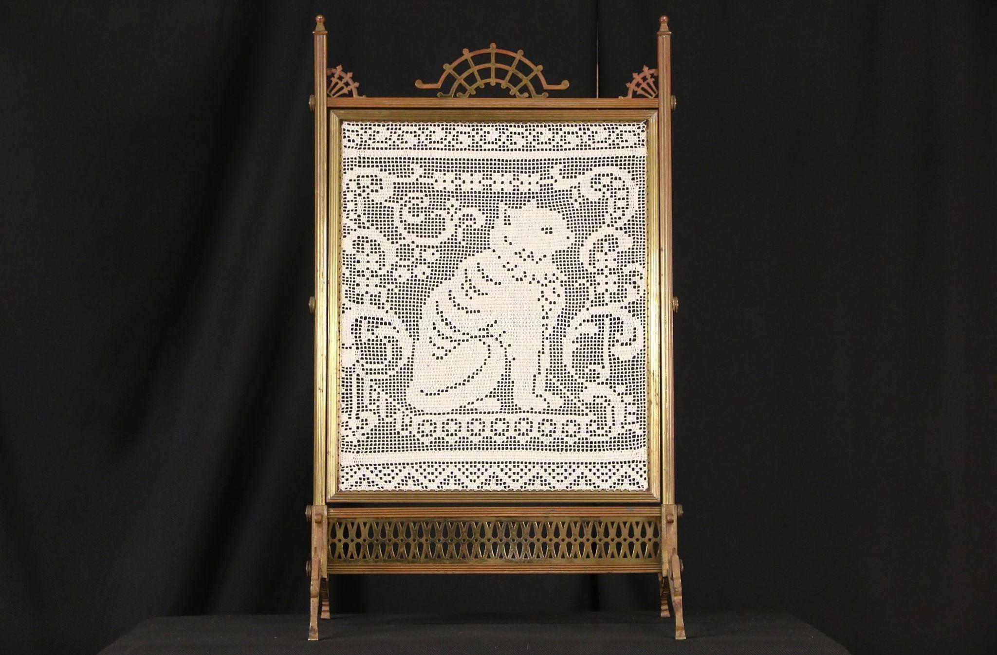 Antique Fireplace Screen >> Sold Bronze 1870 Antique Fireplace Screen Crochet Cat Needlework
