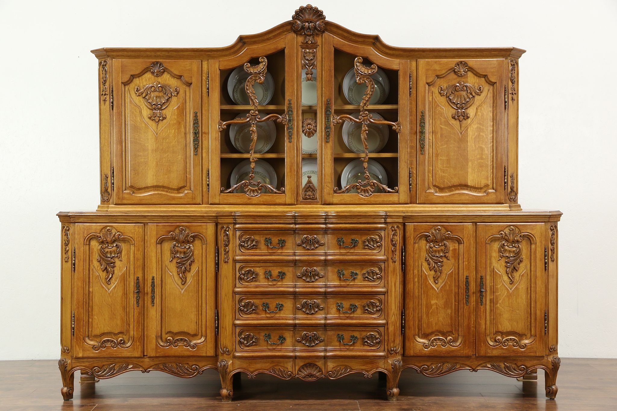 Sold Country French Hand Carved Oak Vintage Provincial Sideboard China Cabinet Harp Gallery
