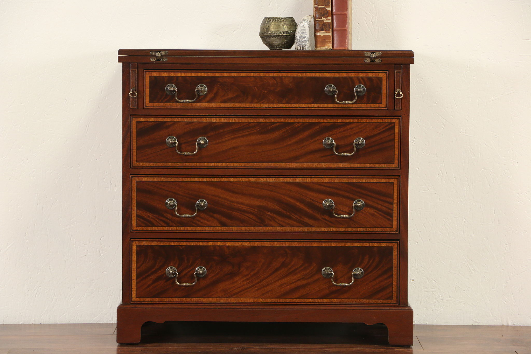 Sold Small Banded Mahogany Vintage Chest Nightstand Or