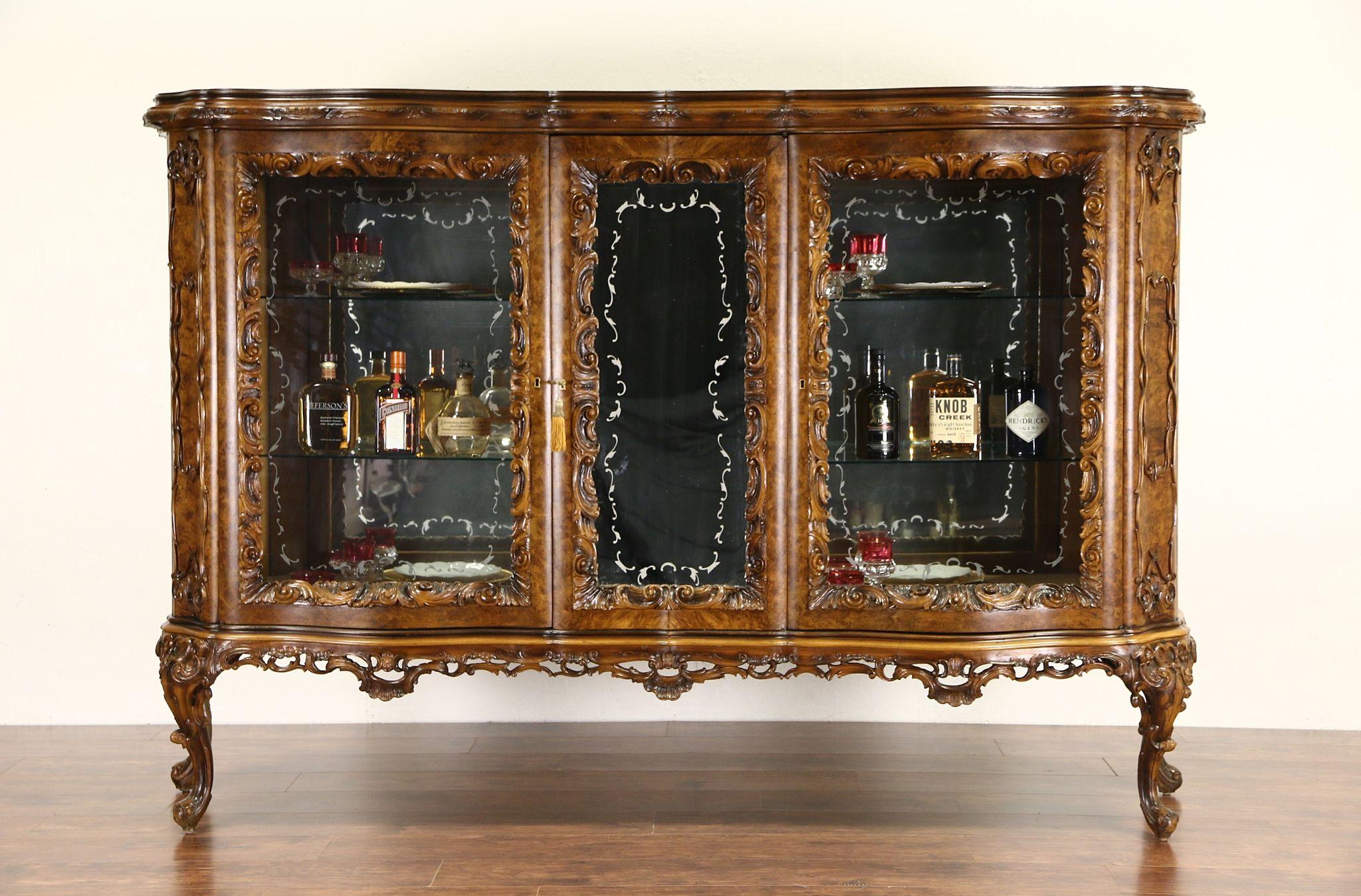 Italian Baroque Carved 1930u0027s Vintage China Display U0026 Bar Cabinet ...