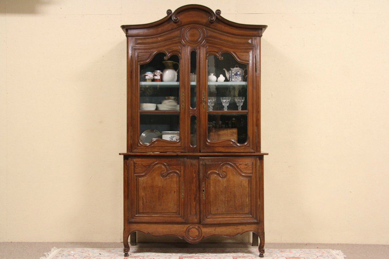 Country French Carved Pine 1850 Antique China Cabinet - SOLD - Country French Carved Pine 1850 Antique China Cabinet - Harp
