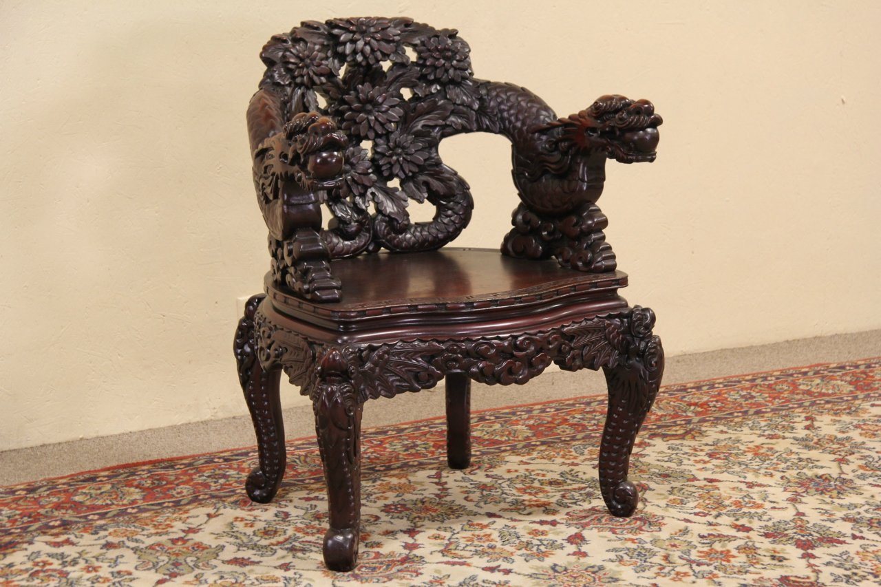 Sold Chinese Dragon Hand Carved Antique 1920 Chair
