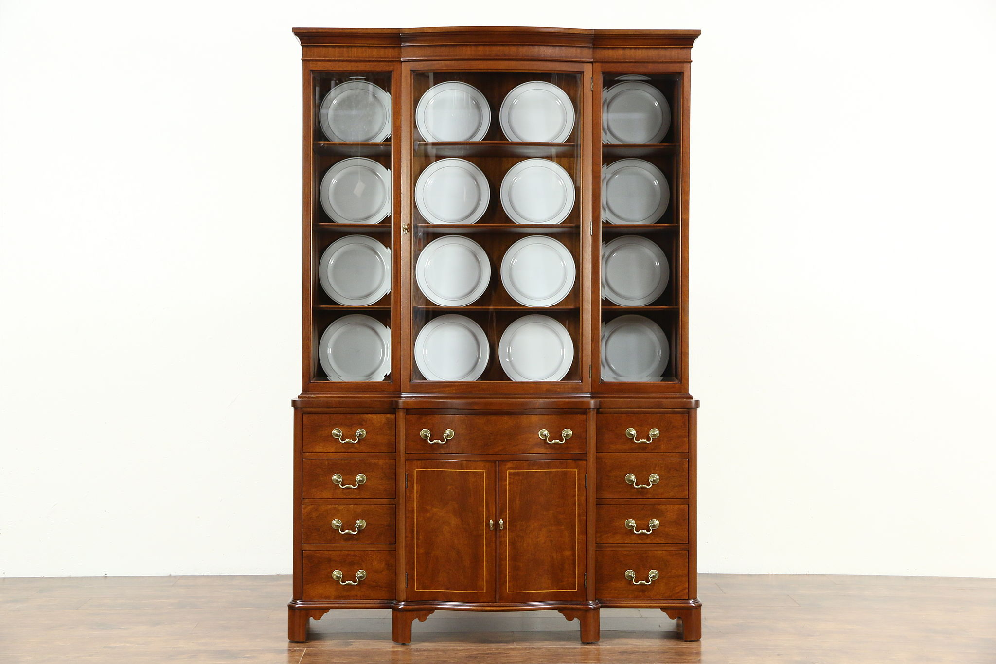 Search showroom harp gallery antiques showroom traditional vintage breakfront china display cabinet bookcase signed landstrom vtopaller Gallery
