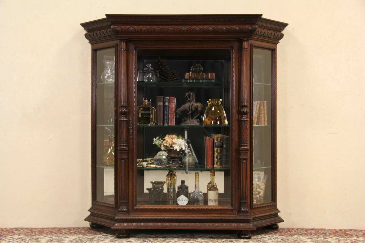 Sold Italian Carved 1900 Antique China Or Curio Display