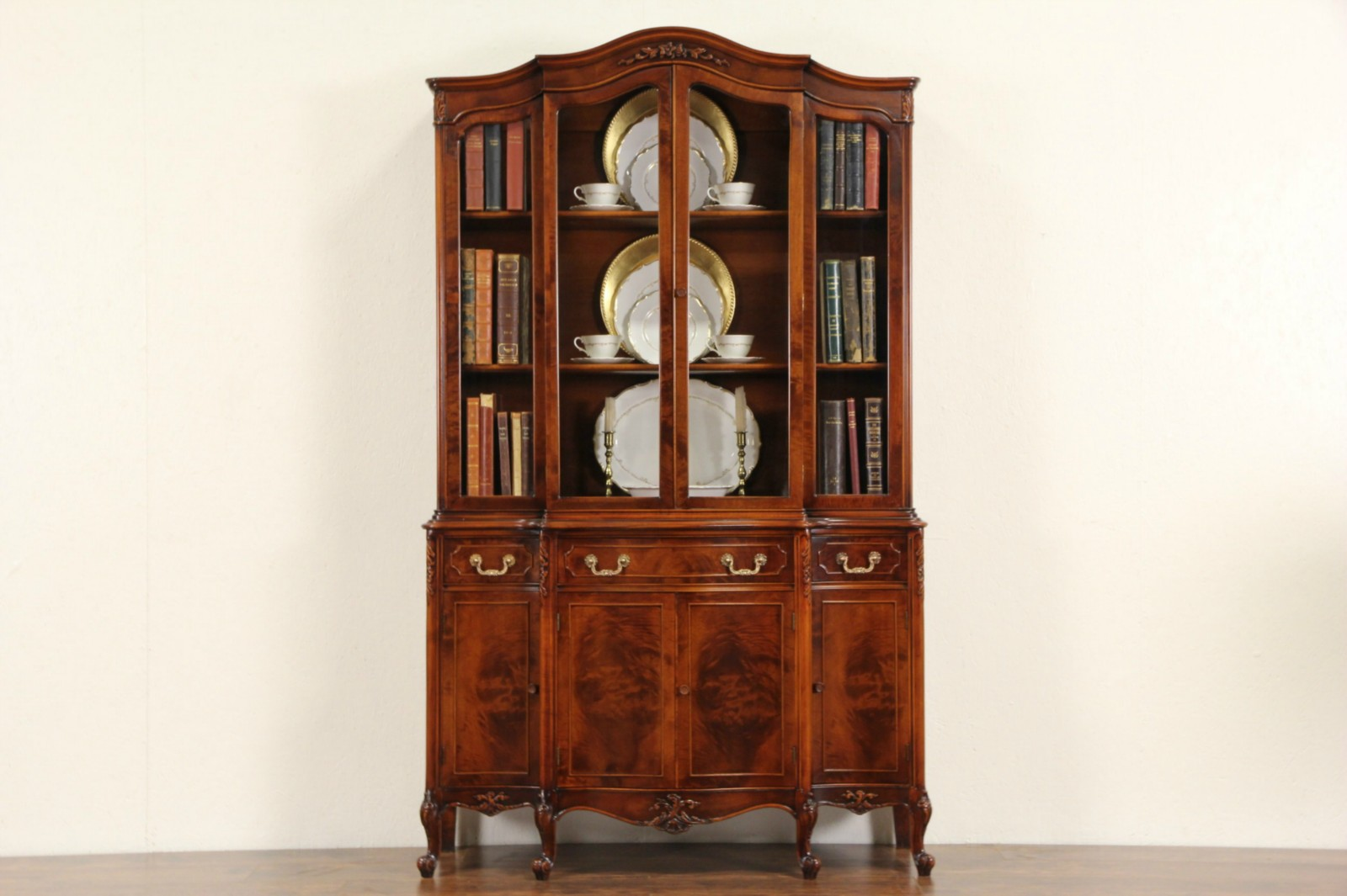 French Style 1940 Vintage Carved Breakfront China Cabinet Or Bookcase