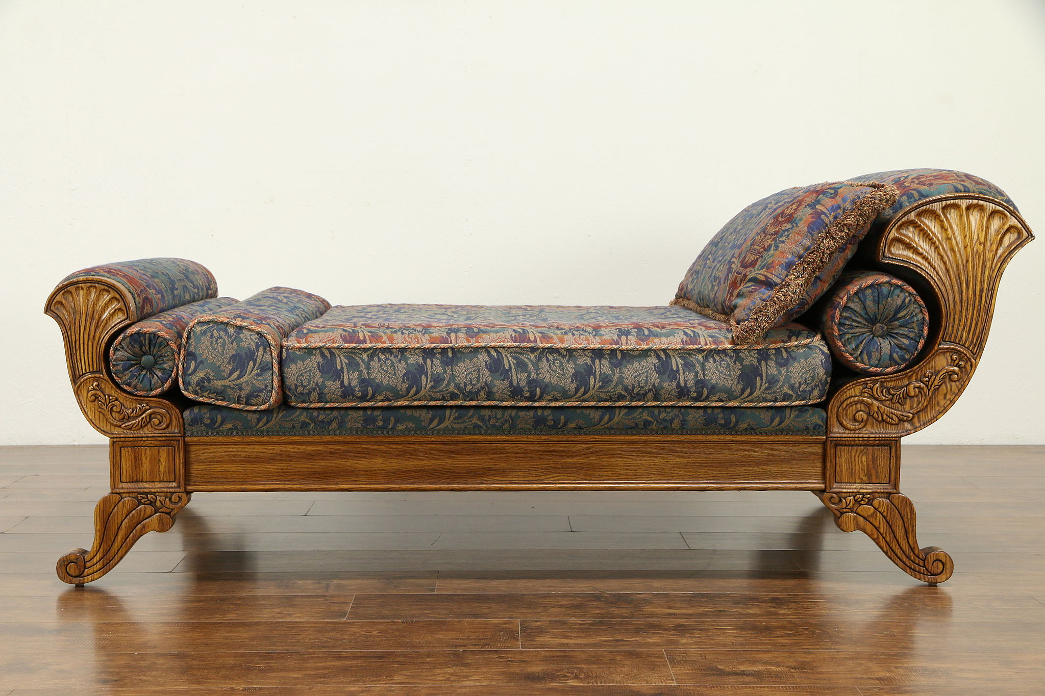- SOLD - Victorian Style Vintage Oak Chaise Lounge Day Bed Fainting
