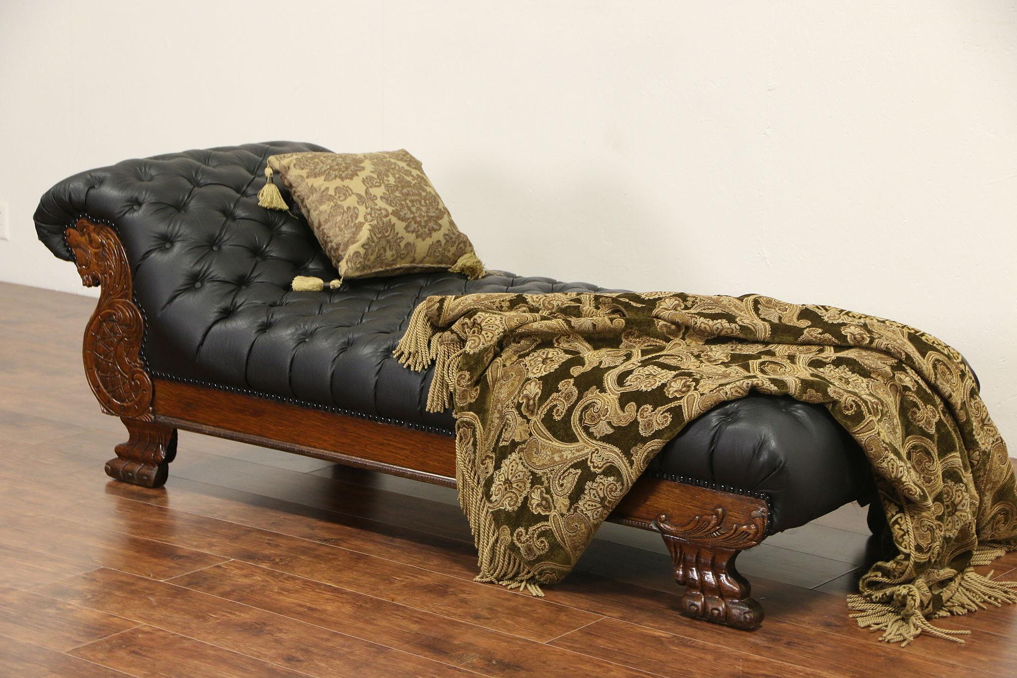 Sold Victorian Lion Carved 1900 Antique Oak Chaise