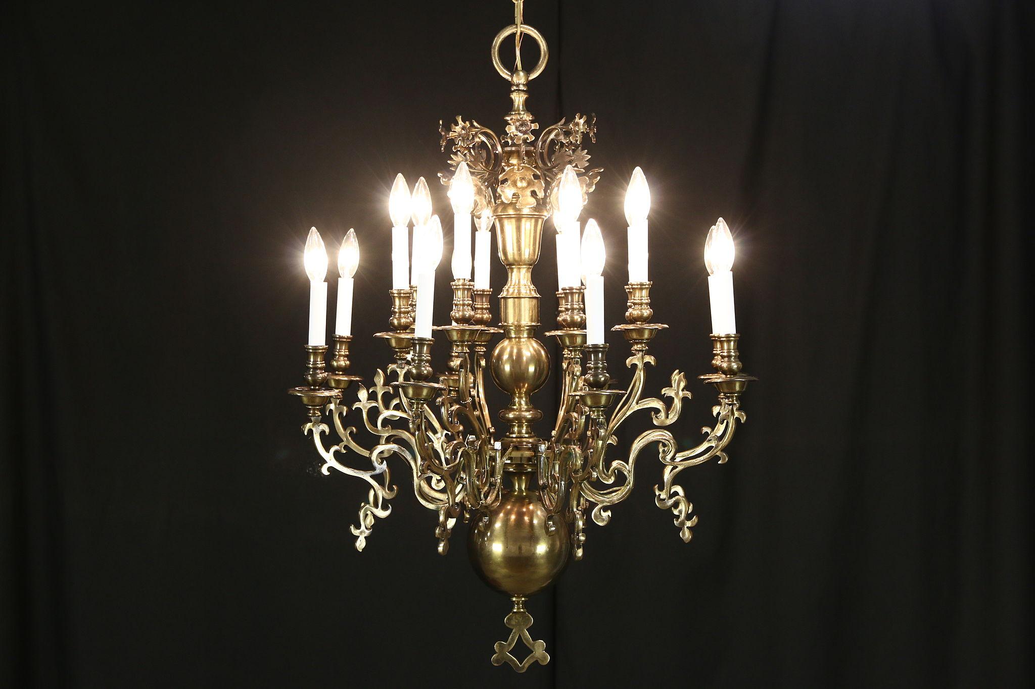Two tier vintage chandelier dark brass 16 candles
