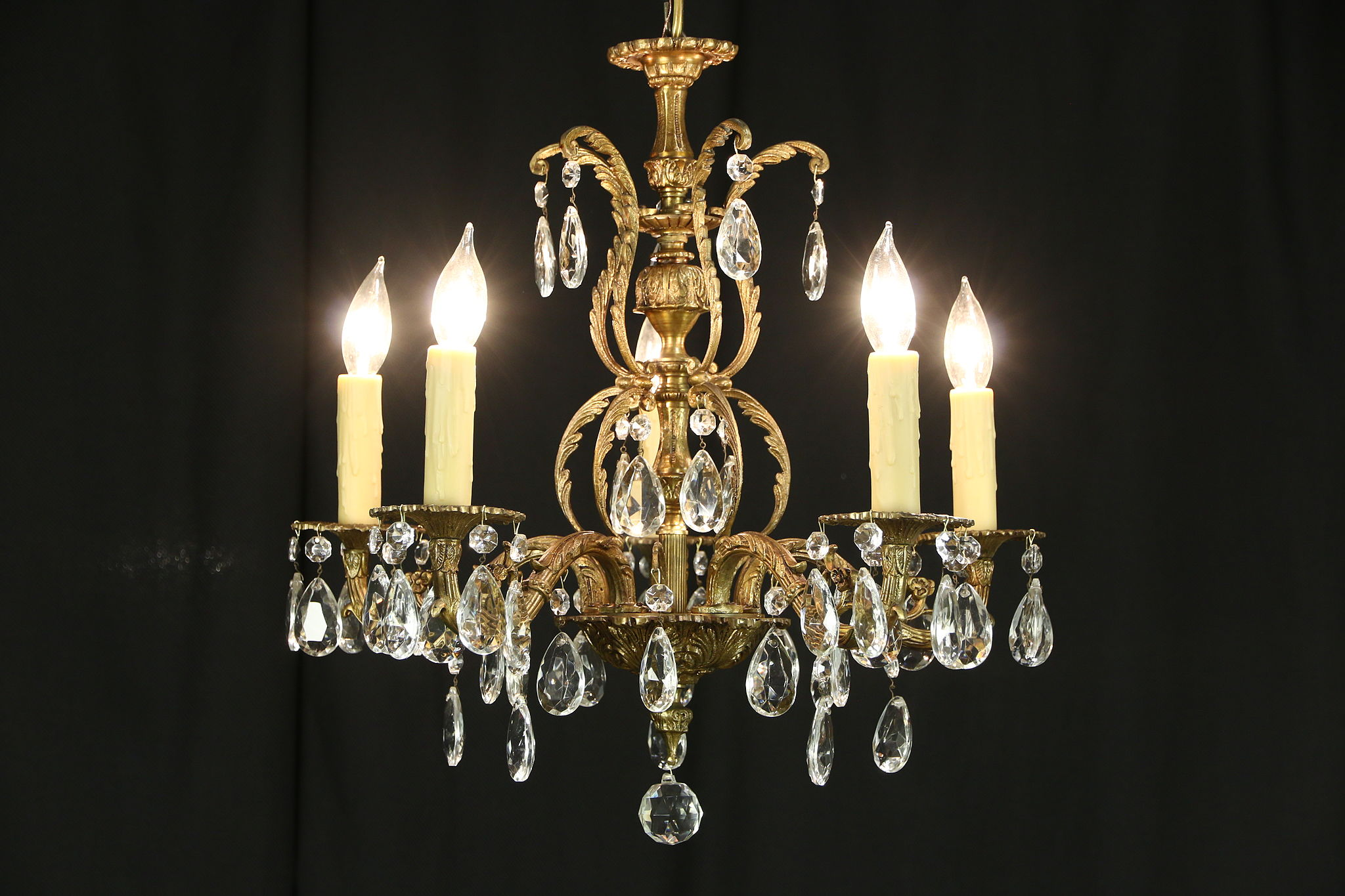 Sold Chandelier With 5 Candles Vintage Embossed Bronze