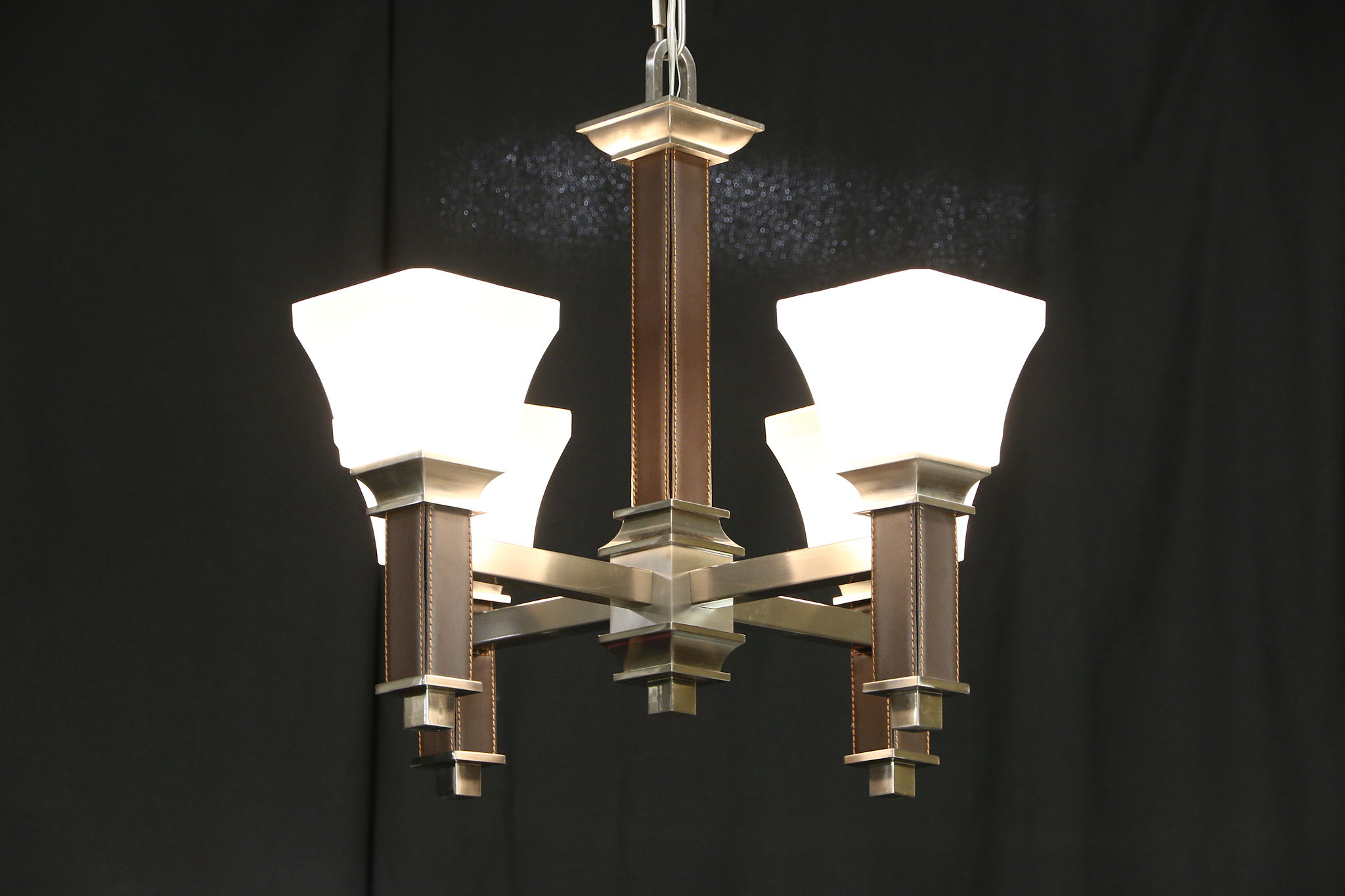 Craftsman Design Contemporary Nickel Chandelier Etched Glass